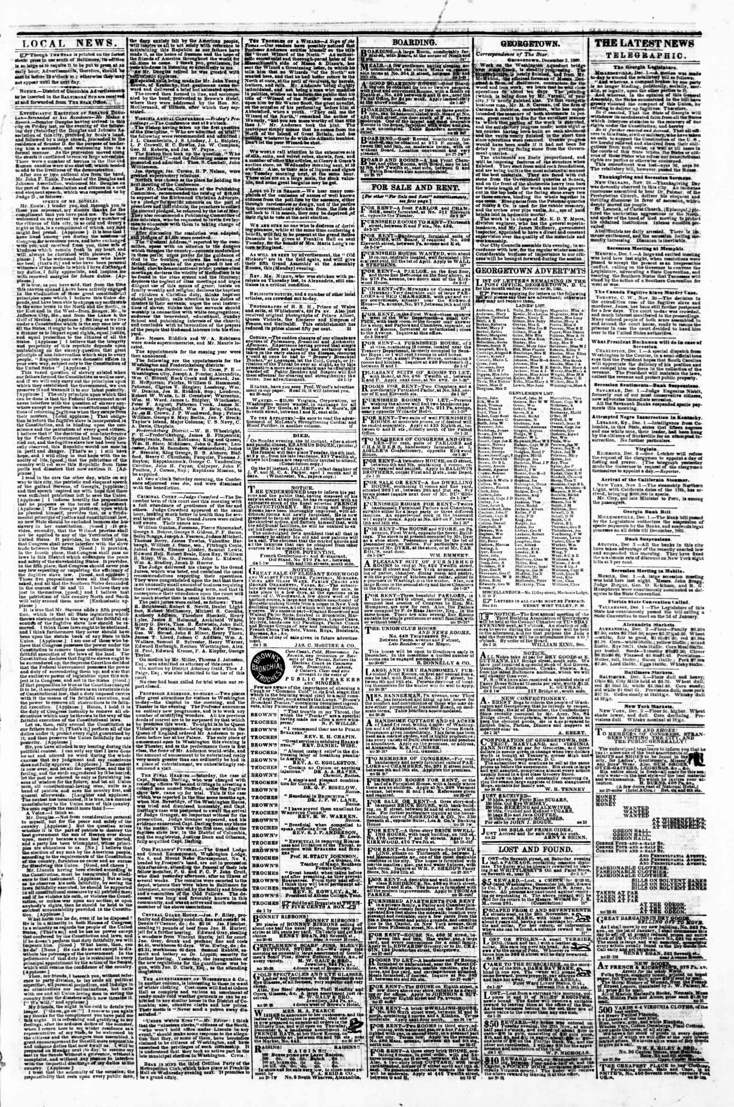 Newspaper of Evening Star dated December 3, 1860 Page 3