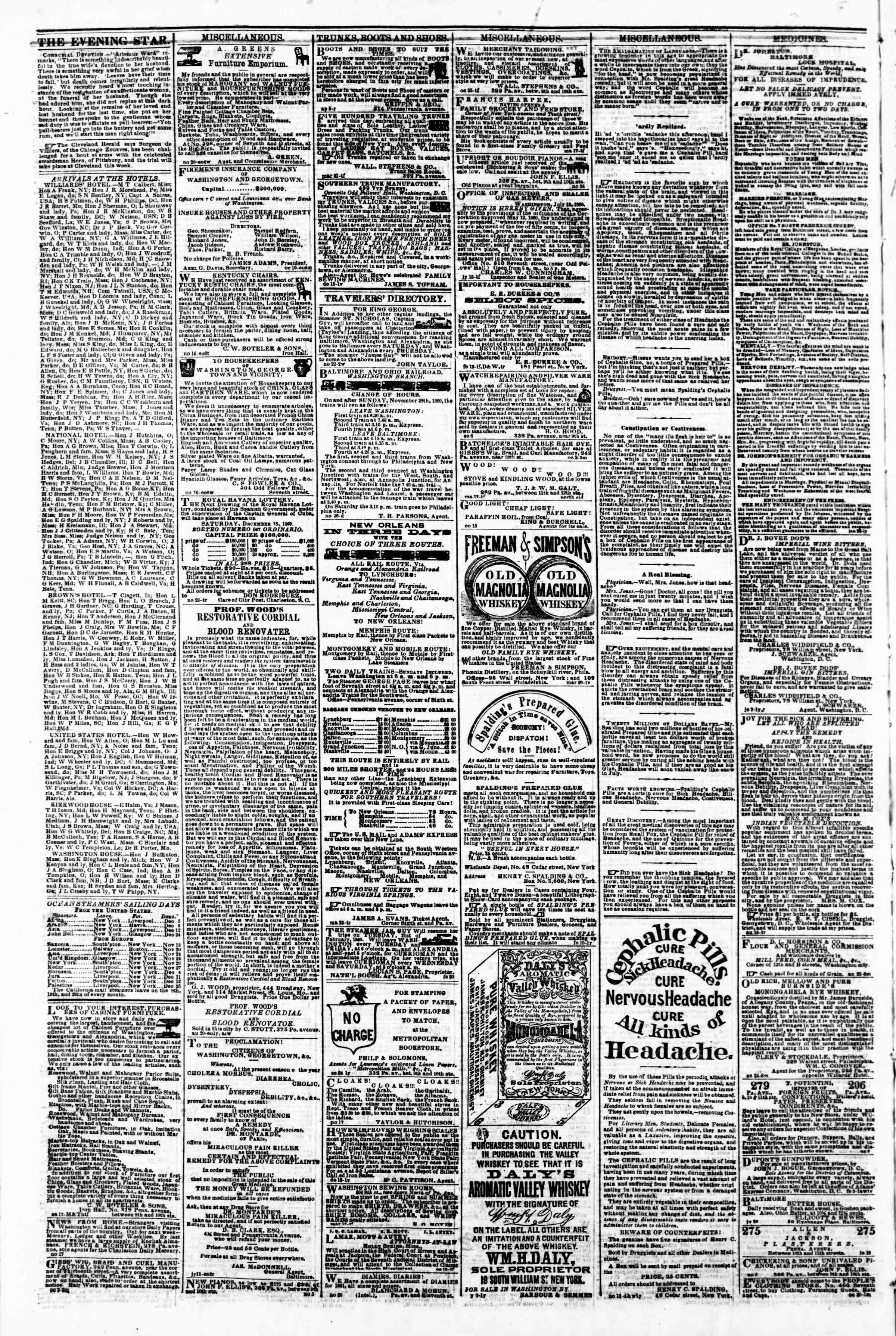 Newspaper of Evening Star dated December 3, 1860 Page 4
