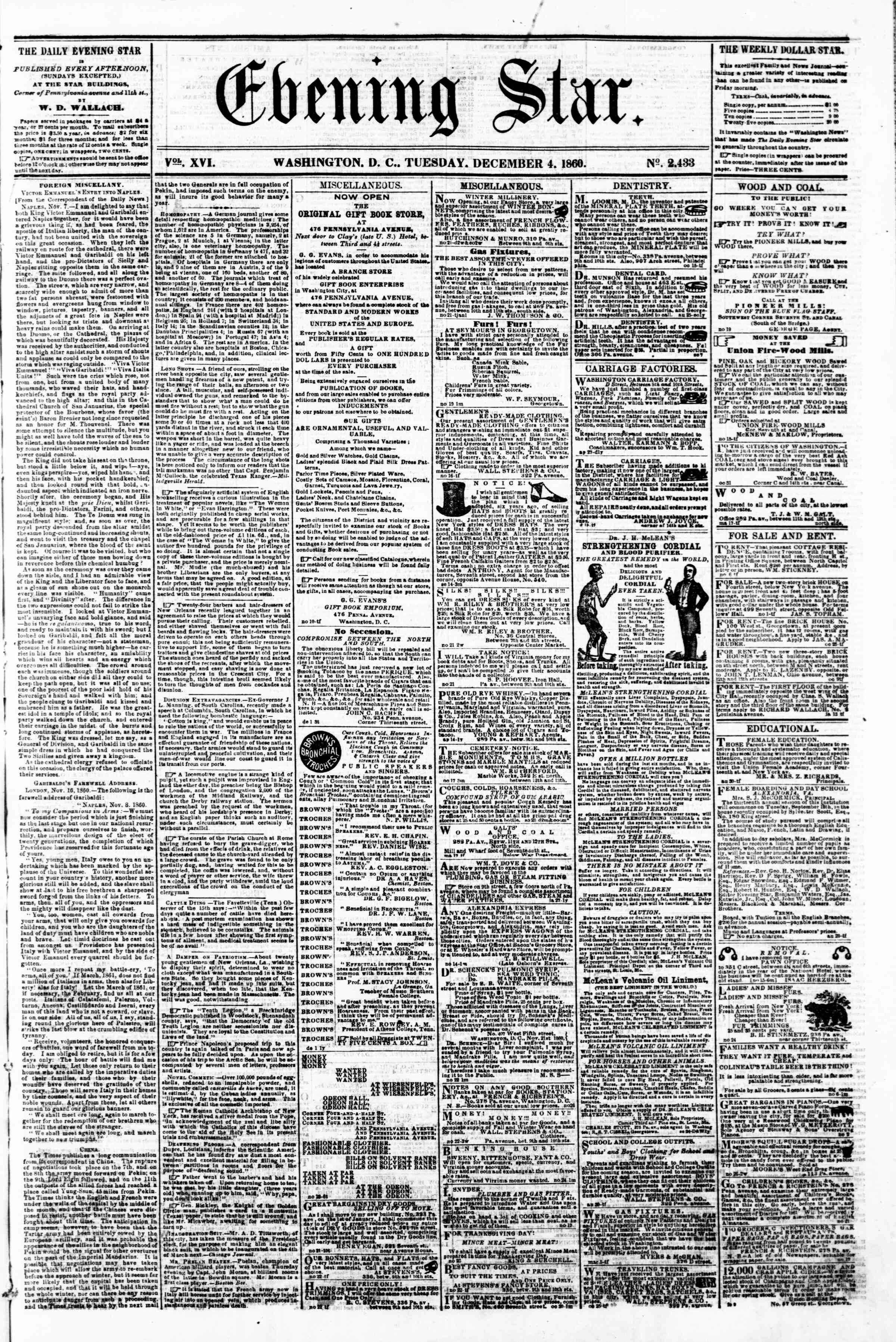 Newspaper of Evening Star dated December 4, 1860 Page 1