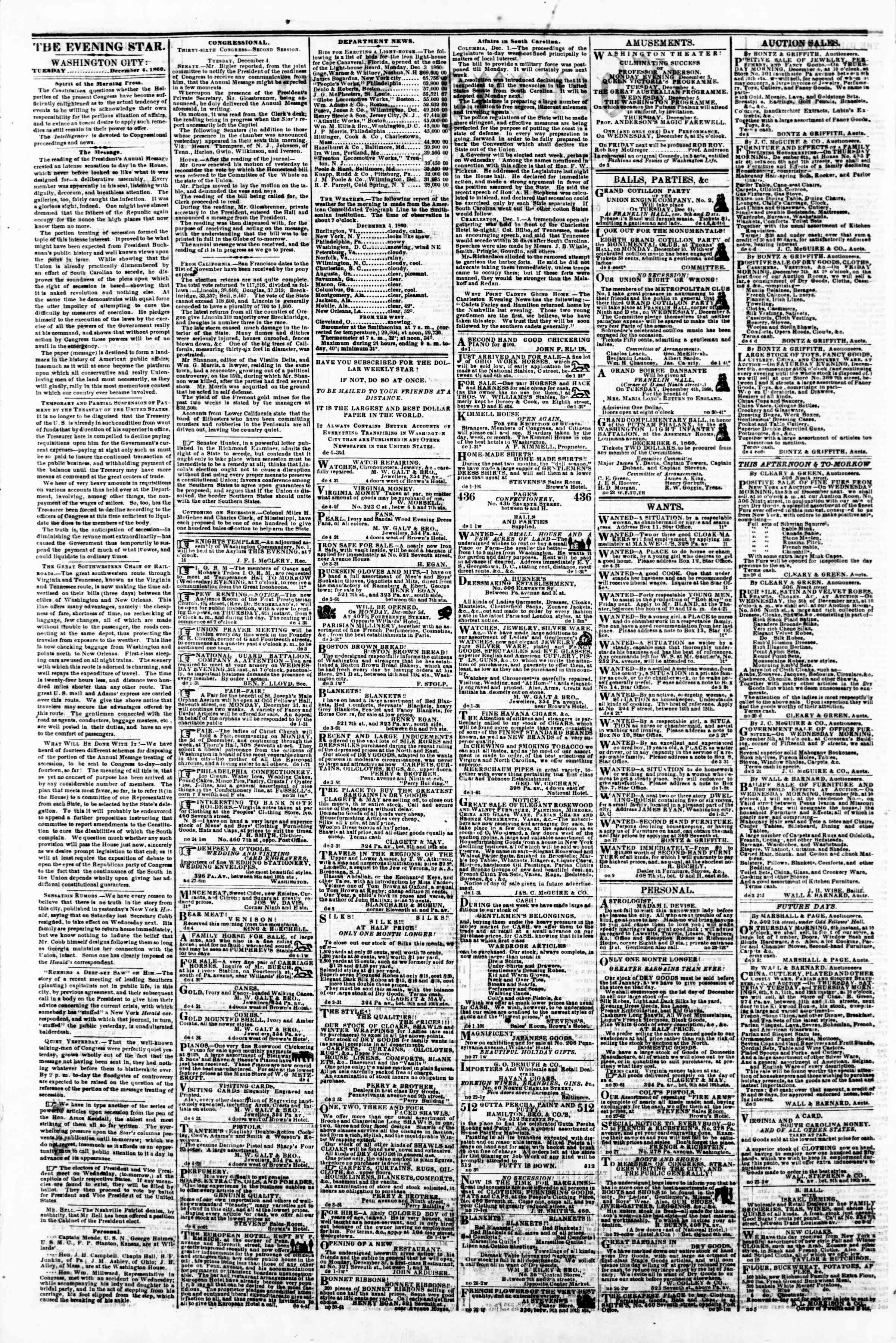 Newspaper of Evening Star dated December 4, 1860 Page 2