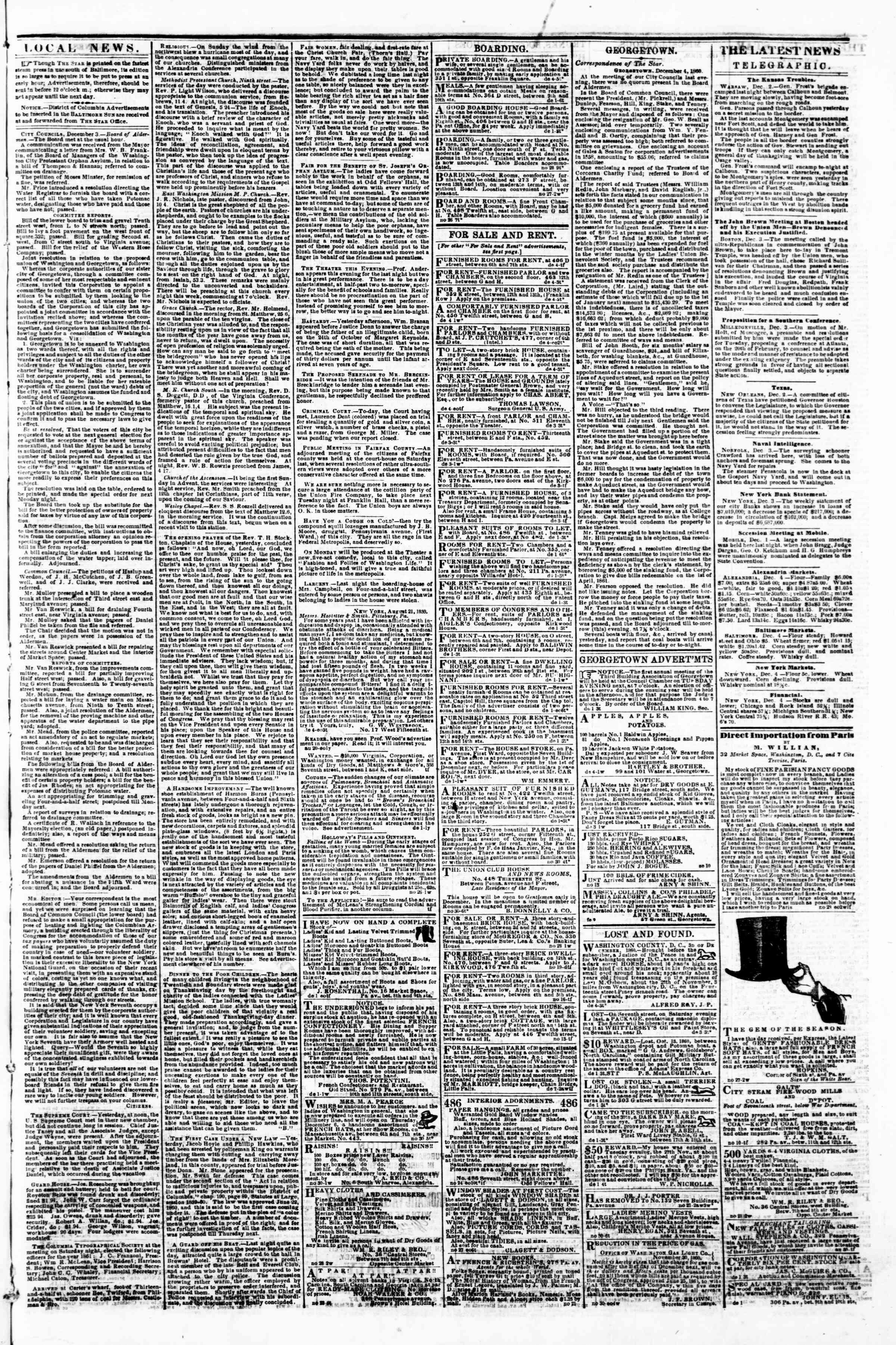 Newspaper of Evening Star dated December 4, 1860 Page 3