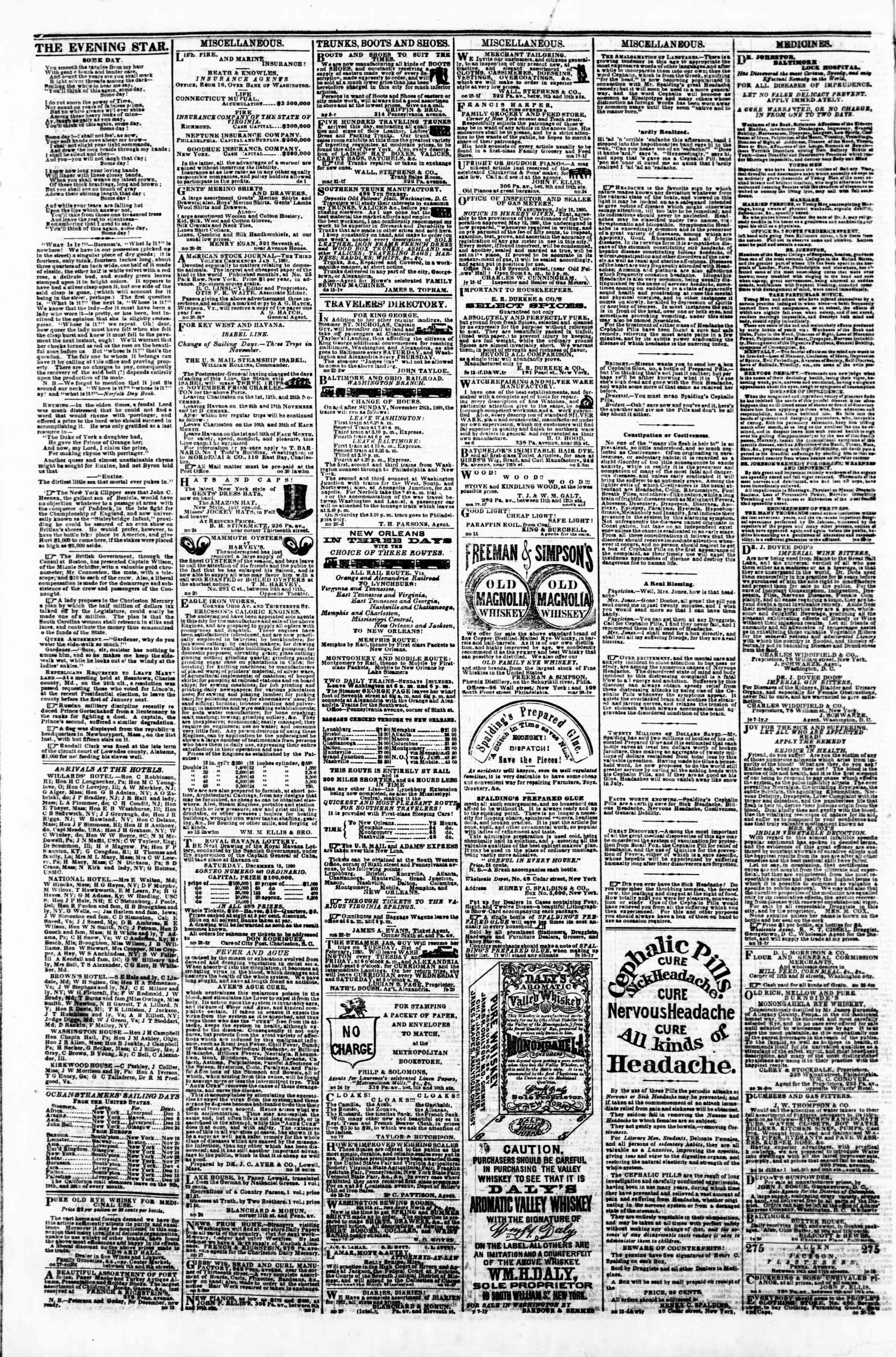 Newspaper of Evening Star dated December 4, 1860 Page 4