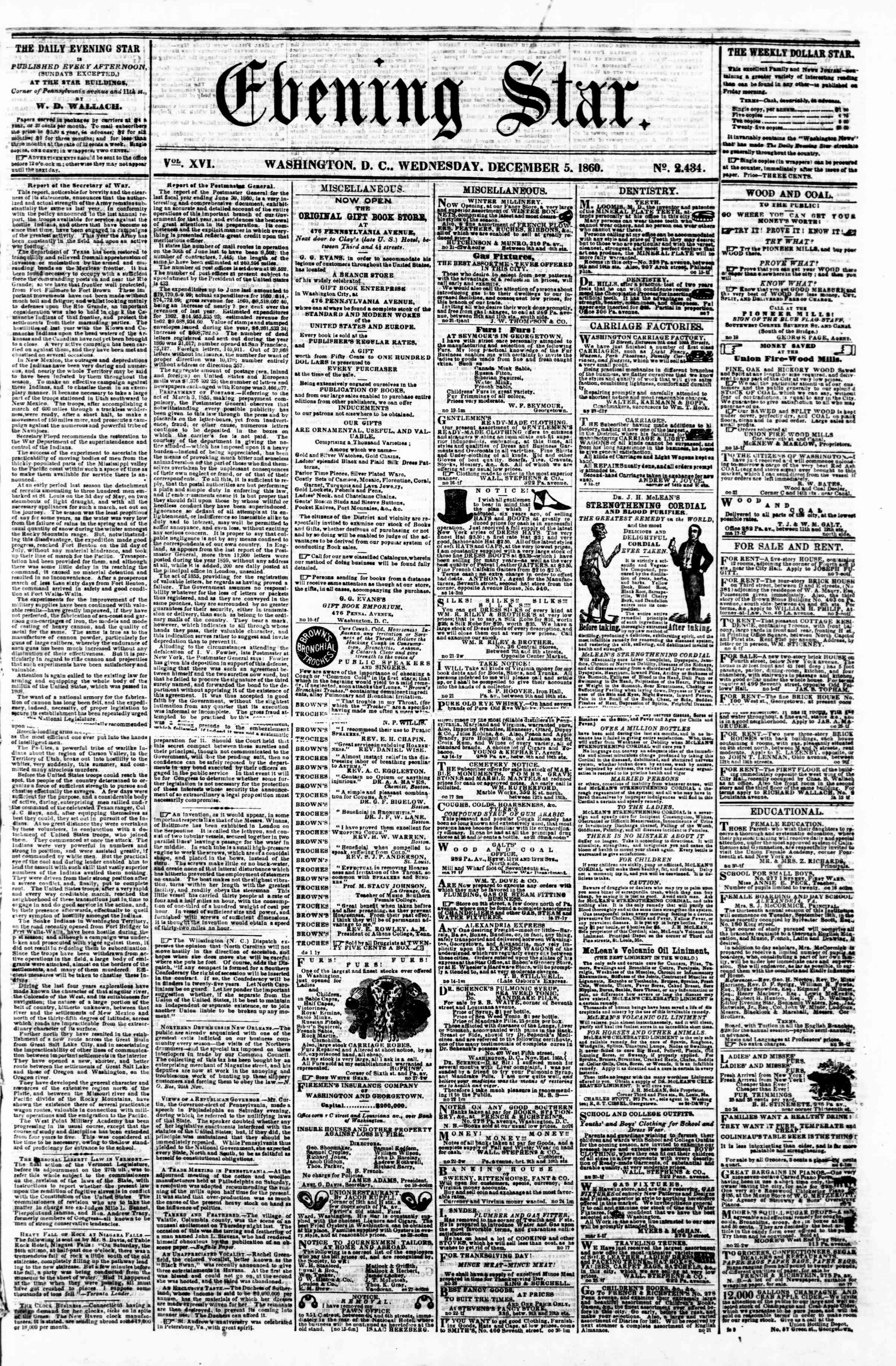 Newspaper of Evening Star dated December 5, 1860 Page 1