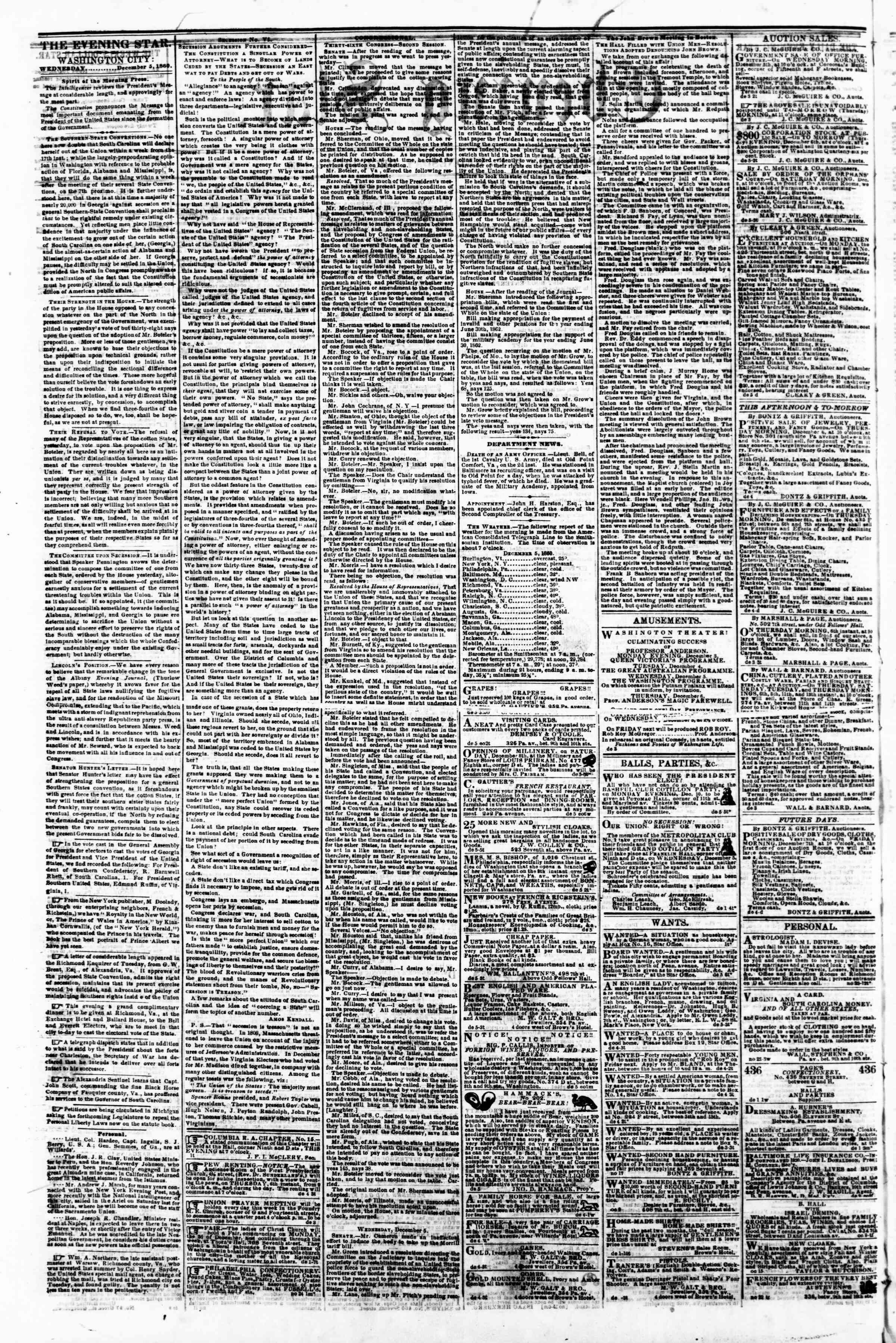 Newspaper of Evening Star dated 5 Aralık 1860 Page 2