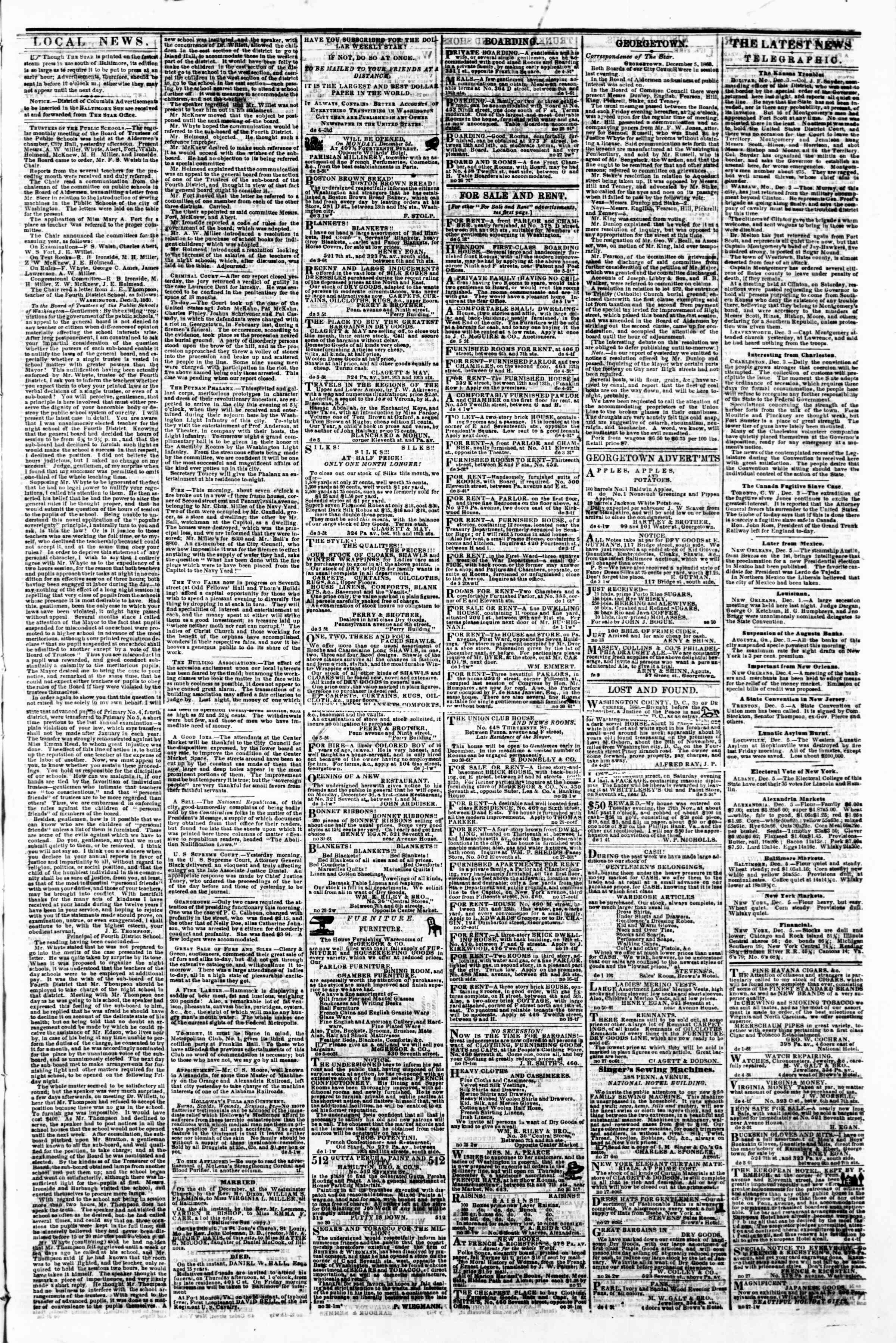 Newspaper of Evening Star dated December 5, 1860 Page 3