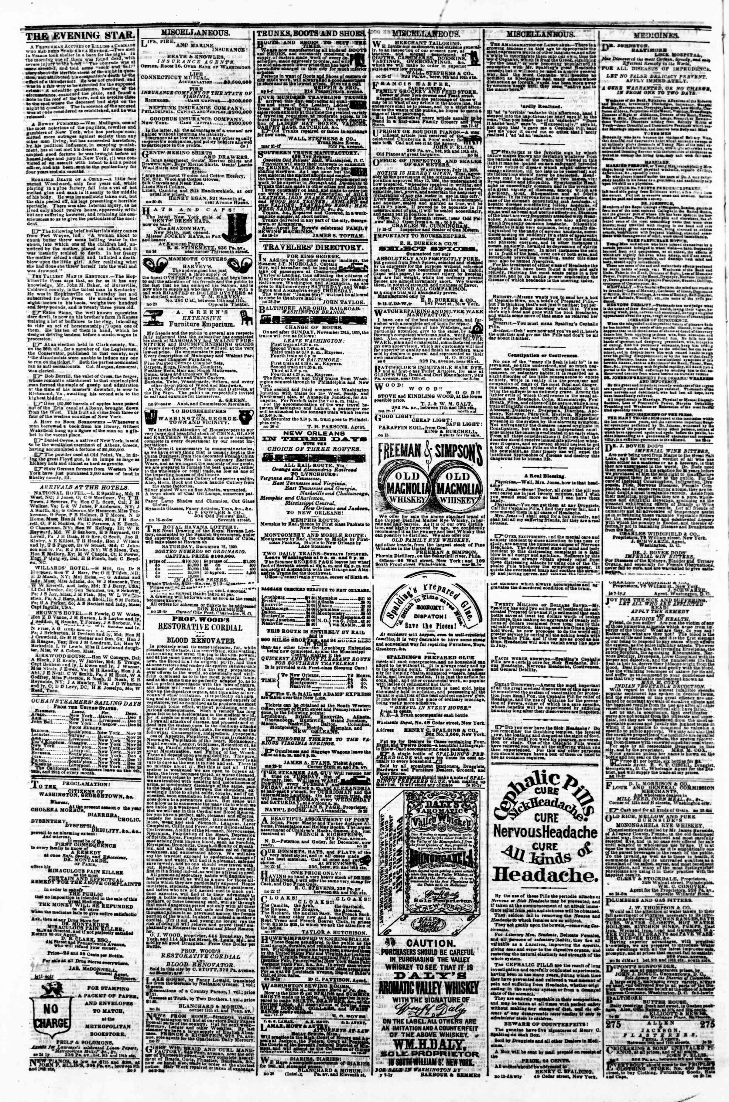 Newspaper of Evening Star dated December 5, 1860 Page 4