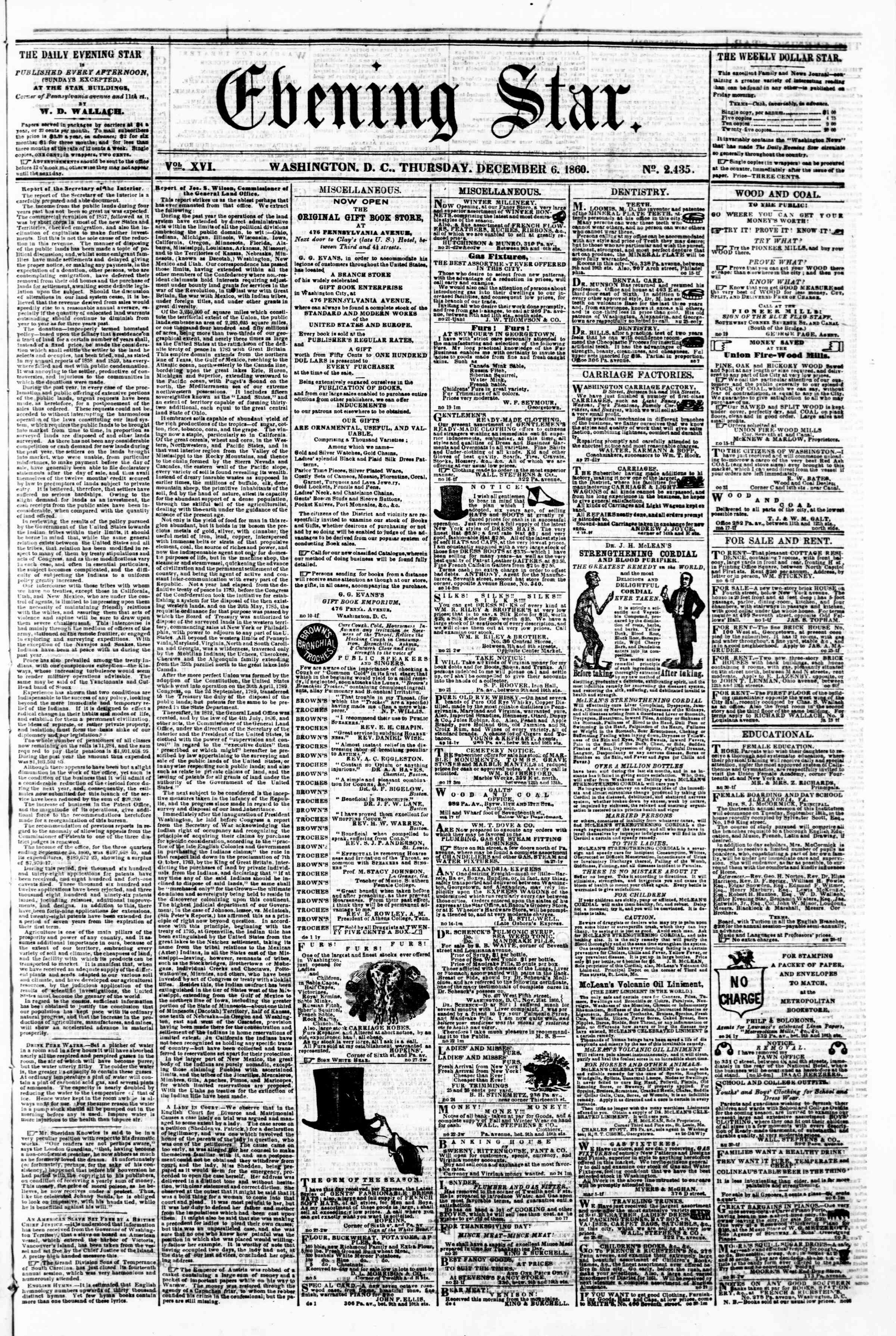 Newspaper of Evening Star dated December 6, 1860 Page 1