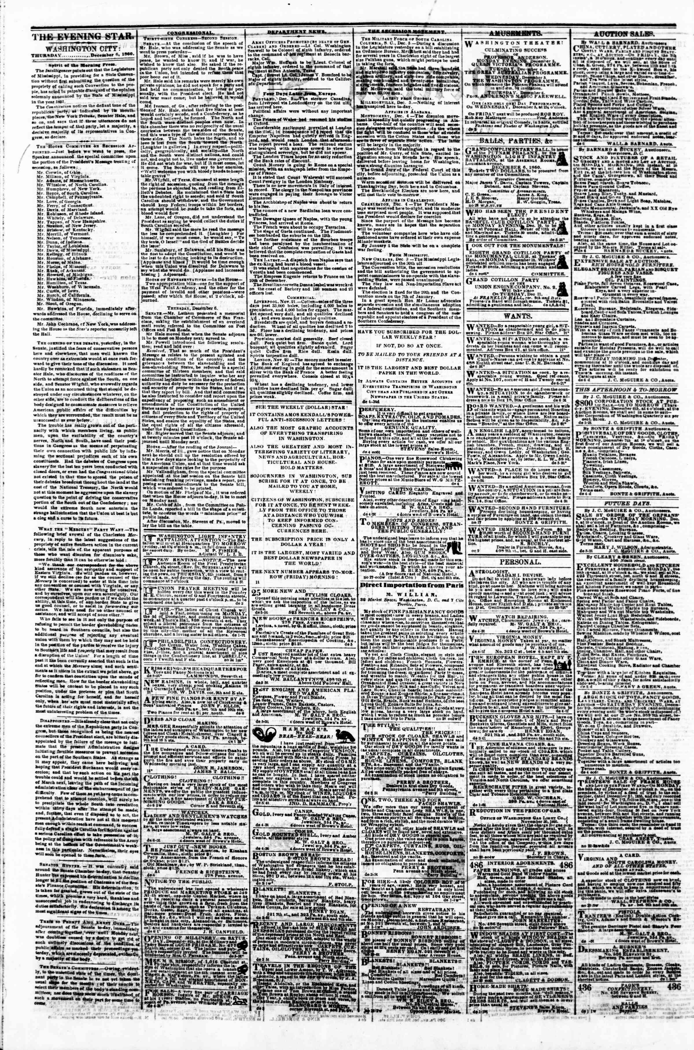 Newspaper of Evening Star dated December 6, 1860 Page 2