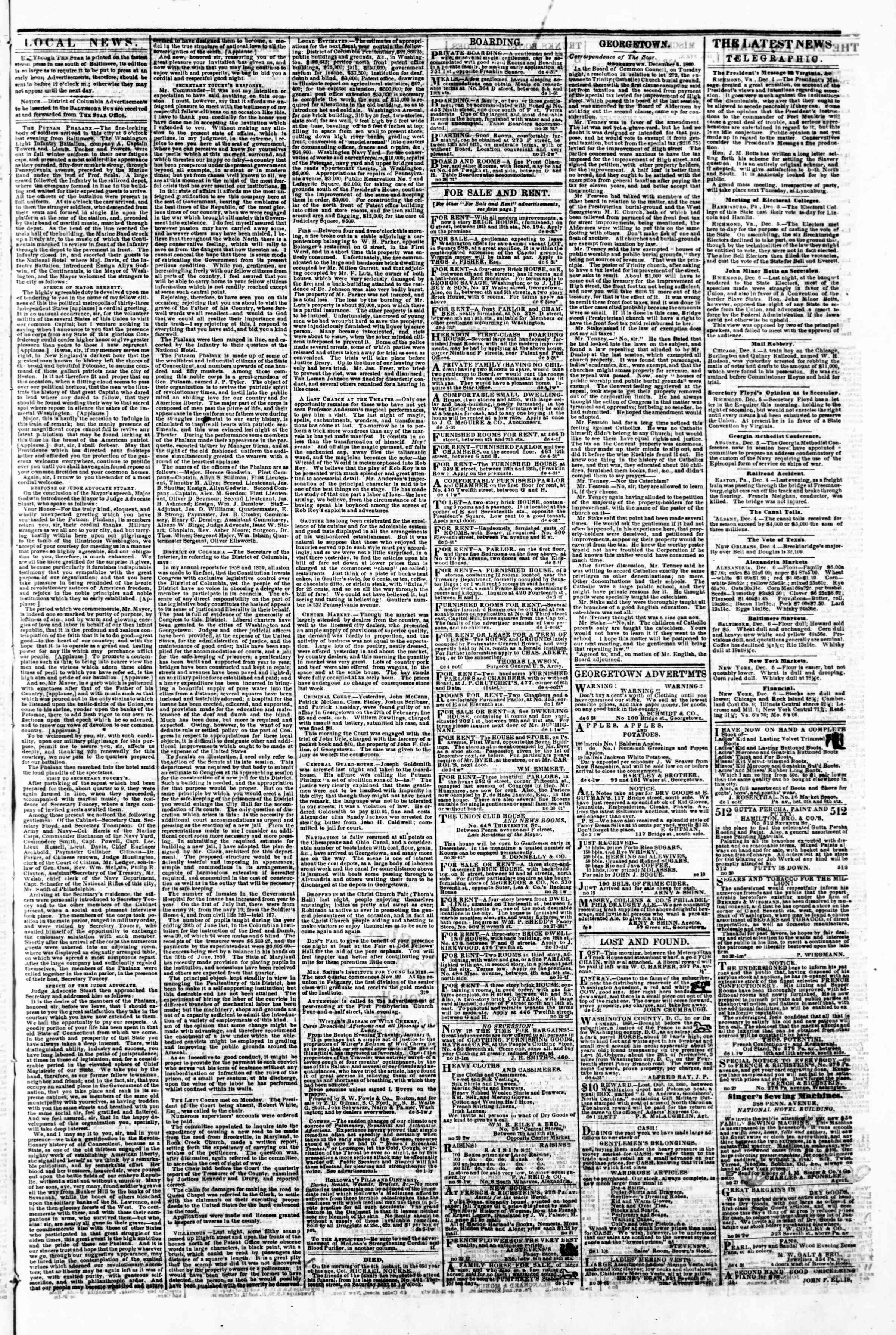Newspaper of Evening Star dated December 6, 1860 Page 3