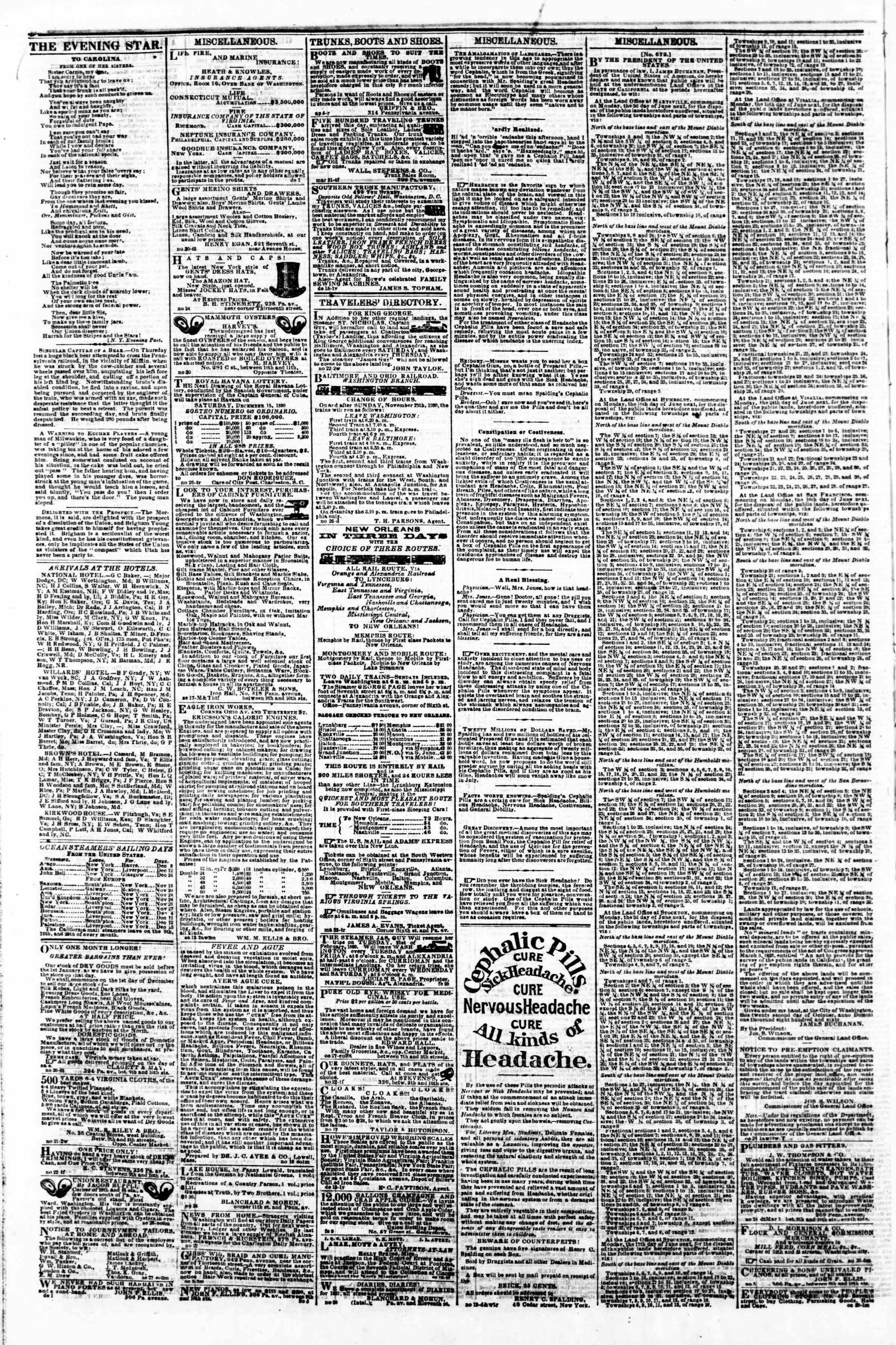 Newspaper of Evening Star dated December 6, 1860 Page 4
