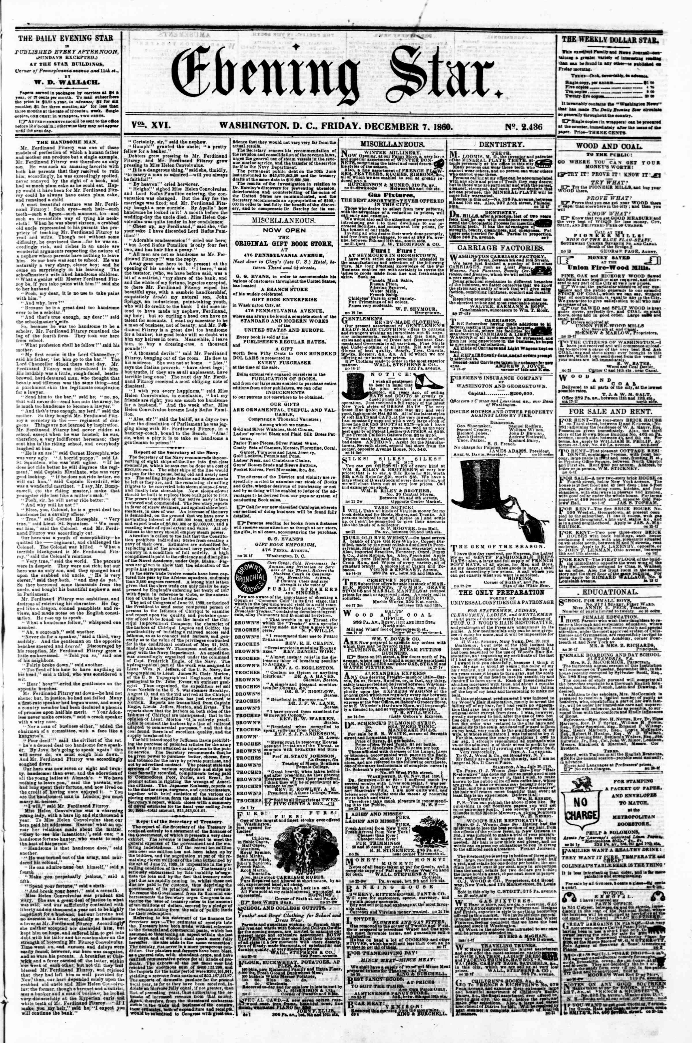 Newspaper of Evening Star dated December 7, 1860 Page 1