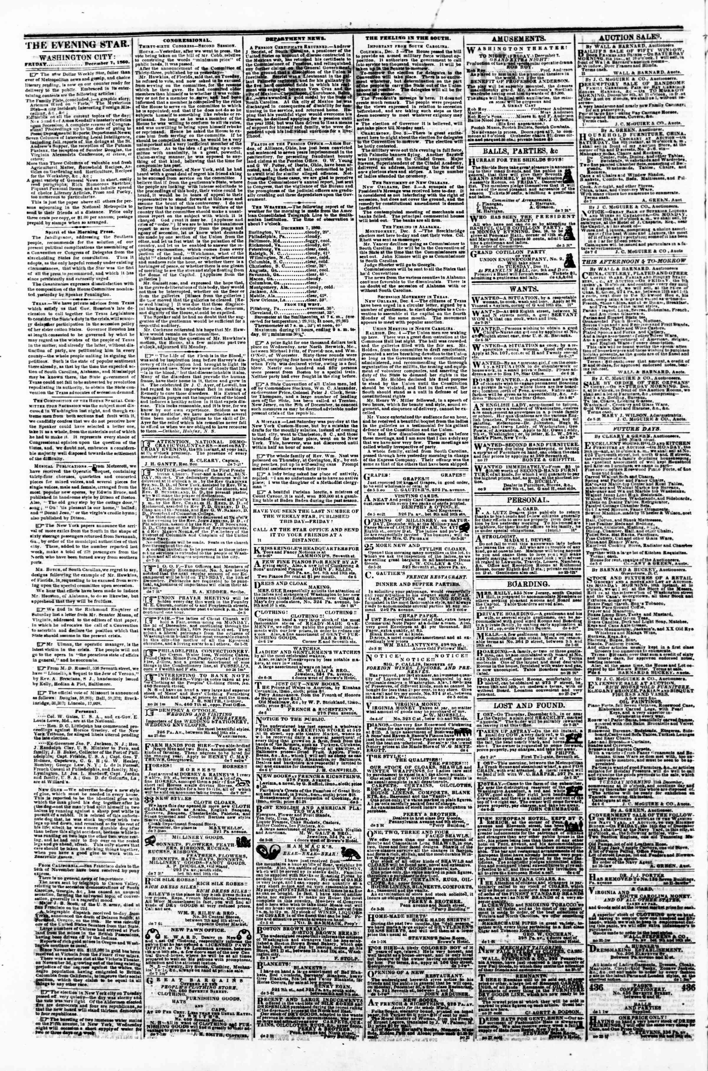 Newspaper of Evening Star dated December 7, 1860 Page 2