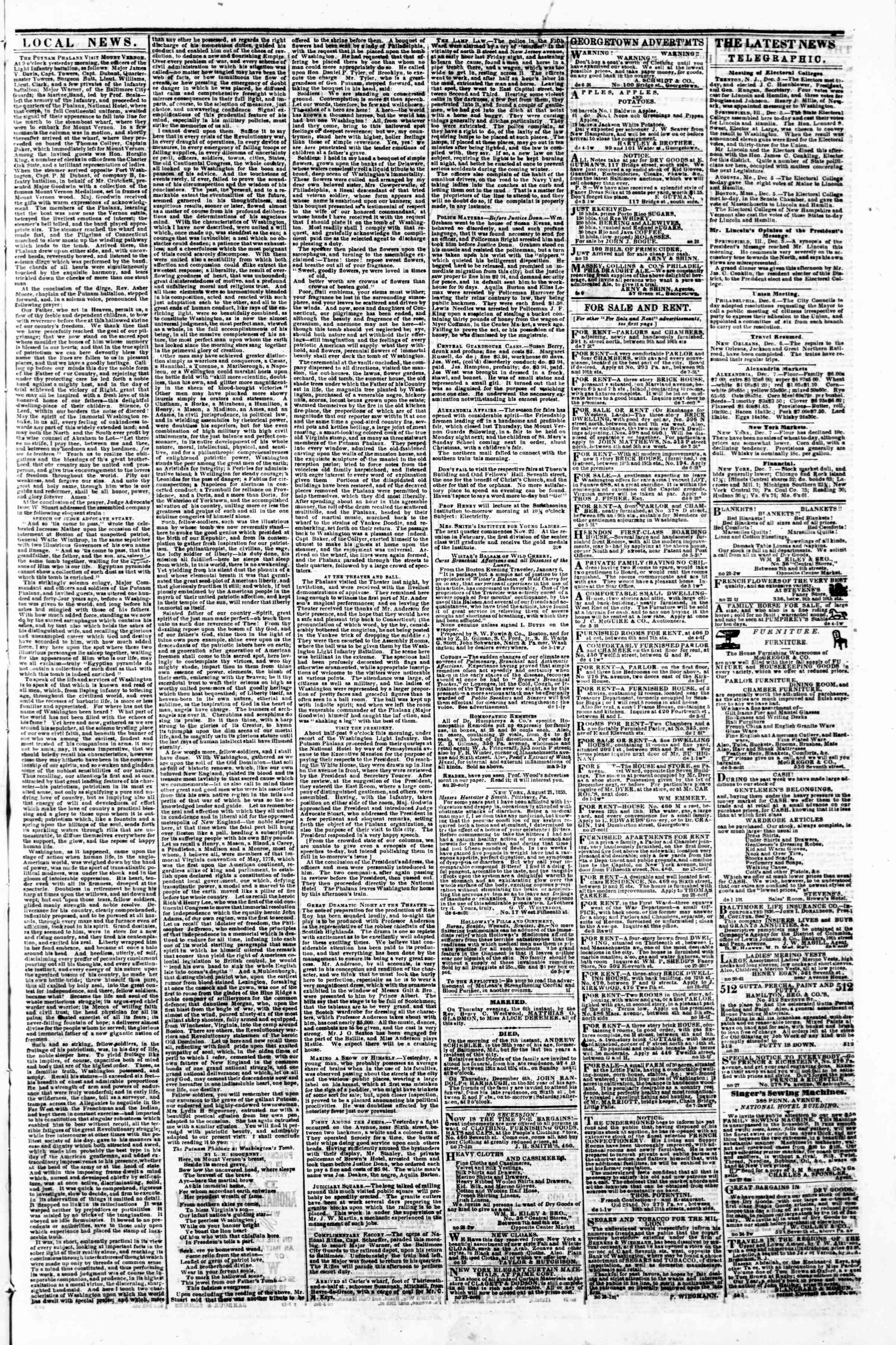 Newspaper of Evening Star dated December 7, 1860 Page 3