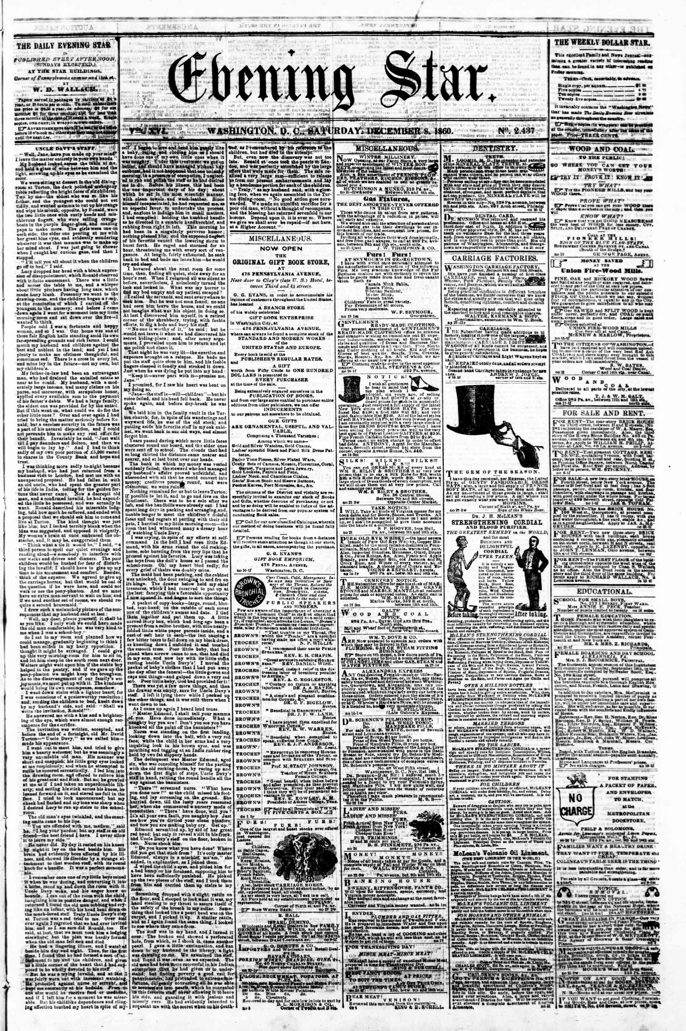 Newspaper of Evening Star dated December 8, 1860 Page 1