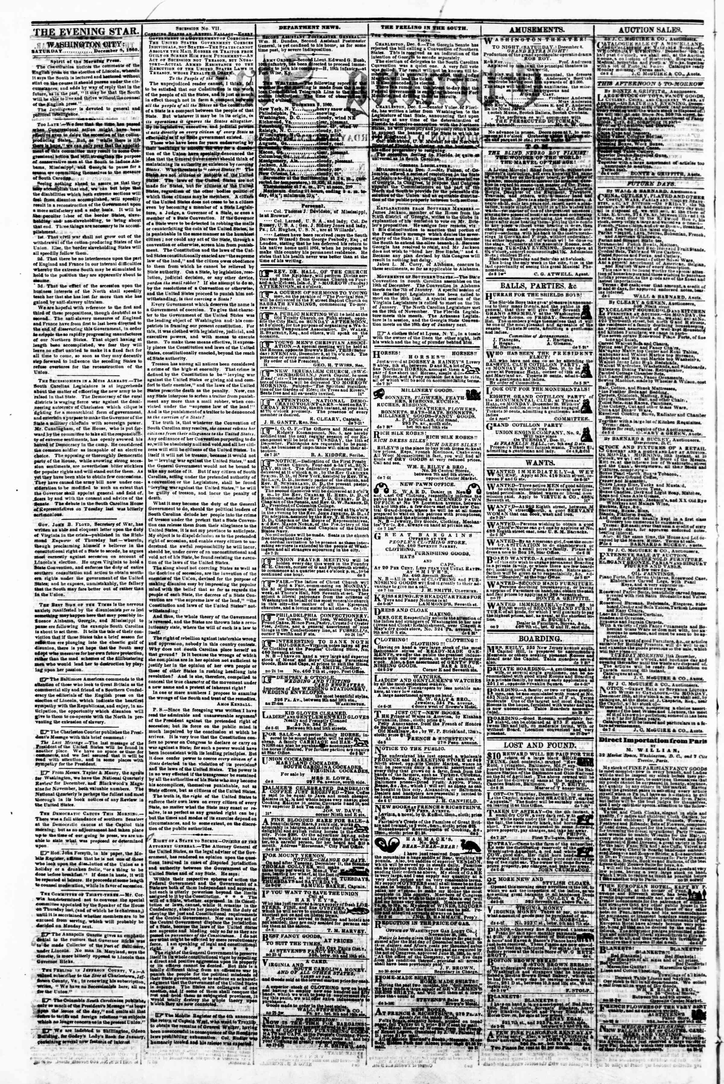 Newspaper of Evening Star dated December 8, 1860 Page 2