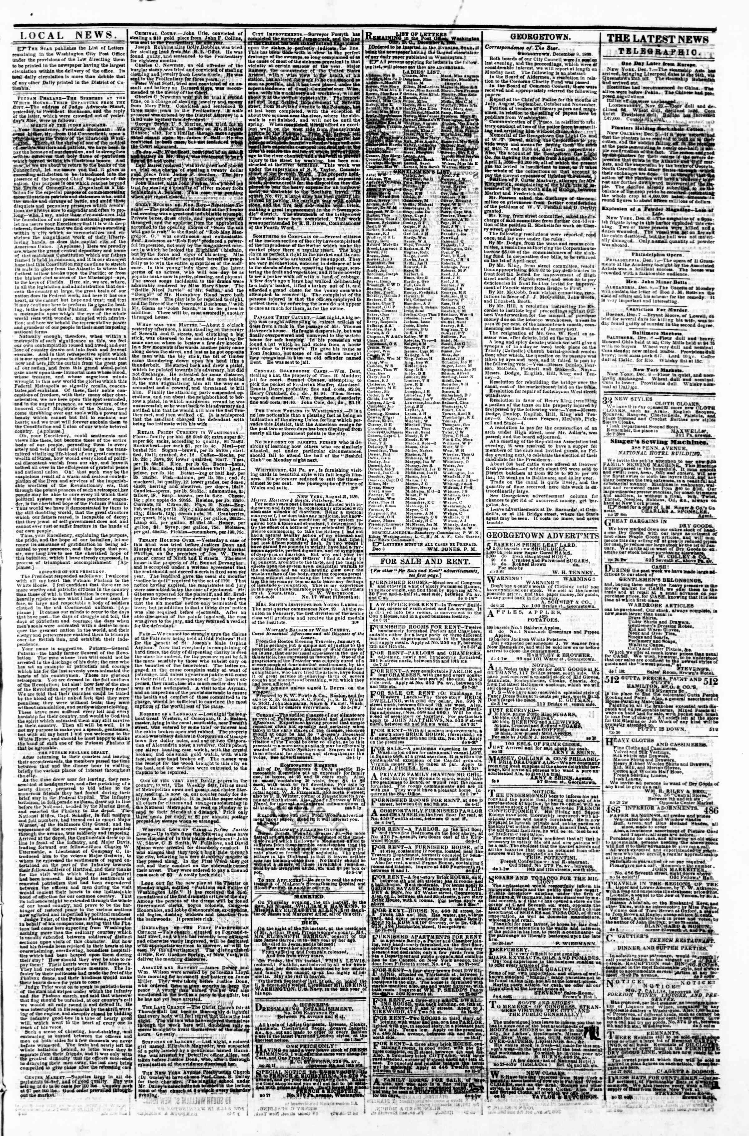 Newspaper of Evening Star dated December 8, 1860 Page 3