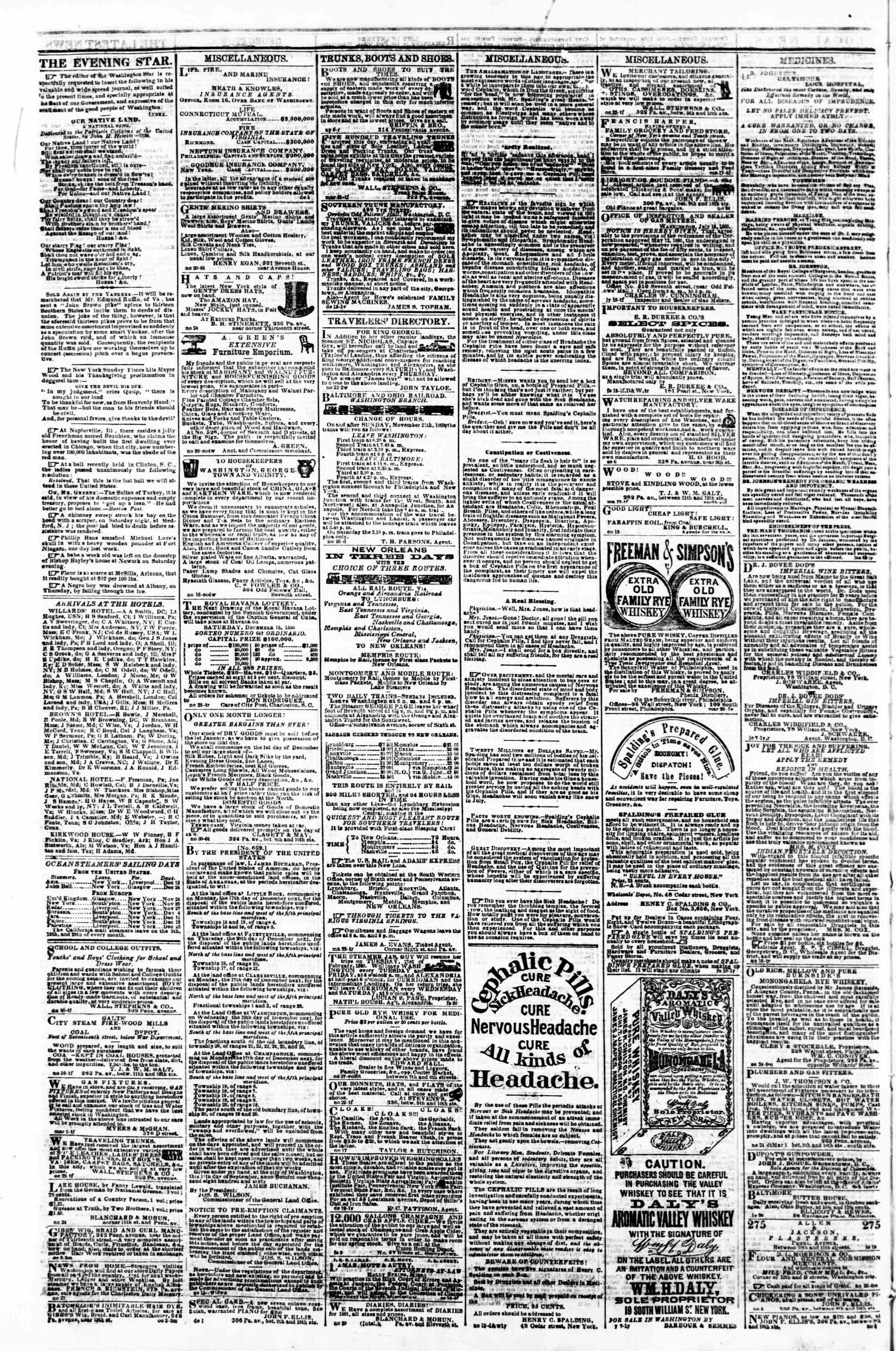 Newspaper of Evening Star dated December 8, 1860 Page 4