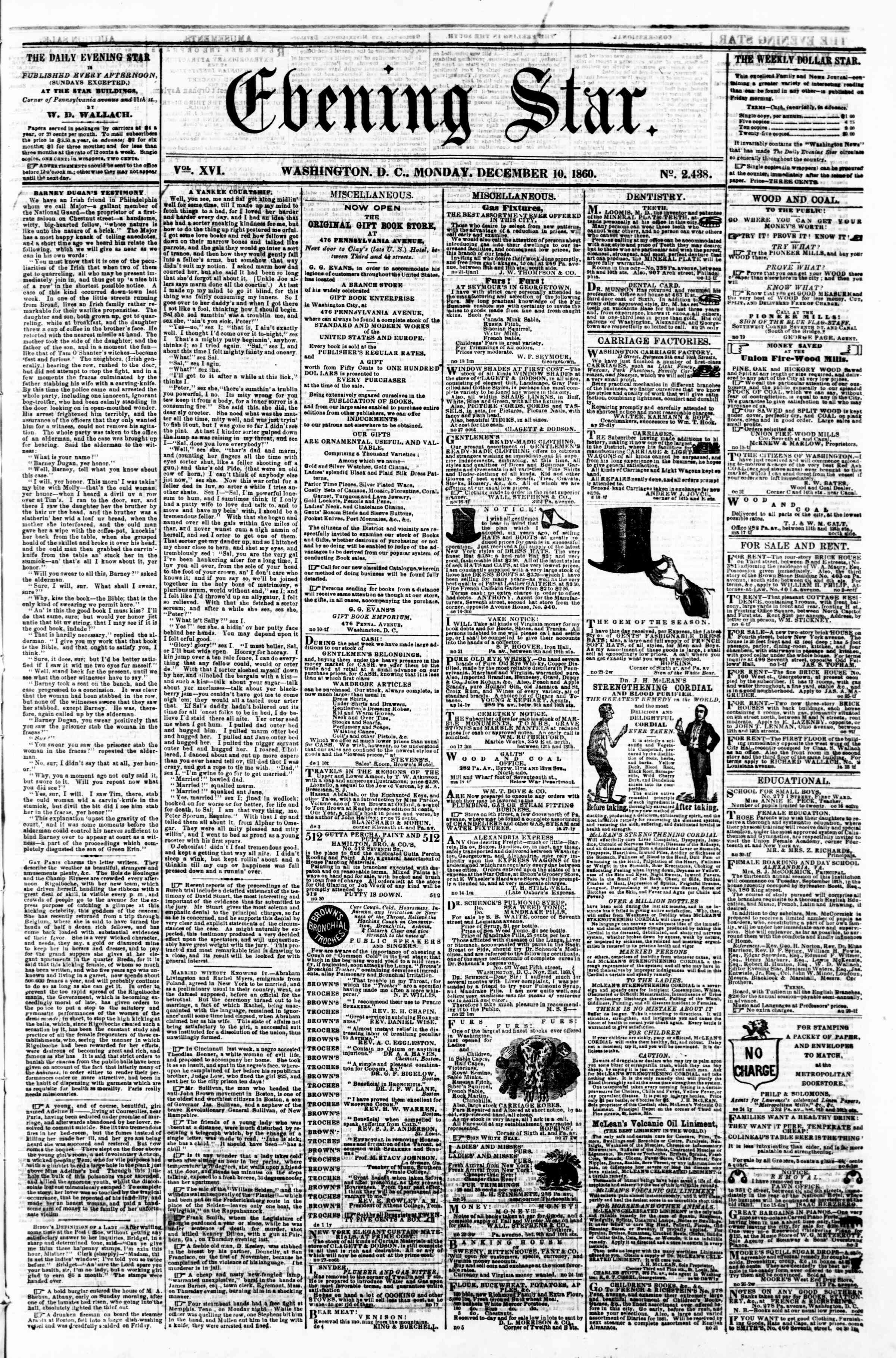 Newspaper of Evening Star dated December 10, 1860 Page 1