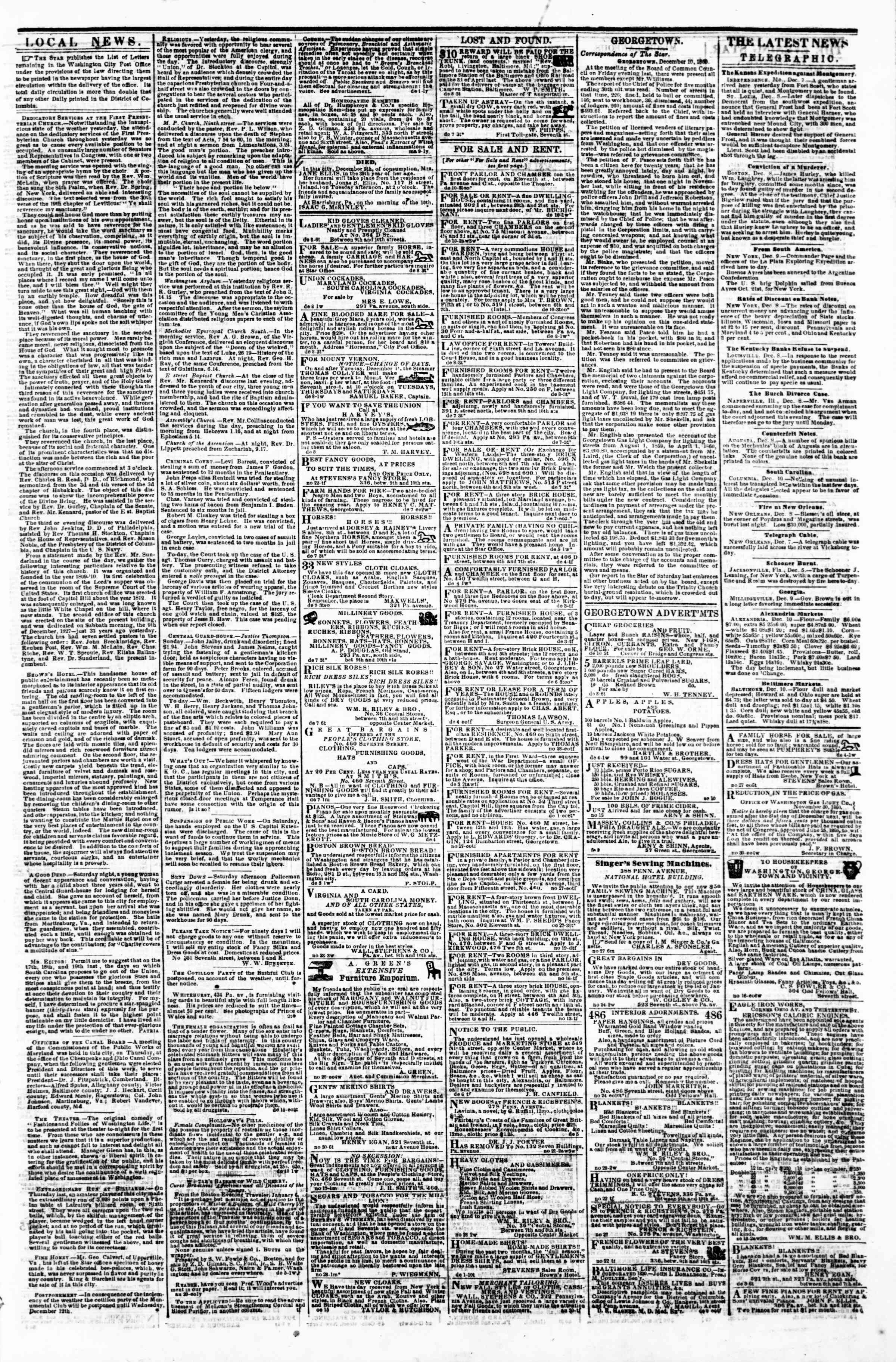 Newspaper of Evening Star dated December 10, 1860 Page 3