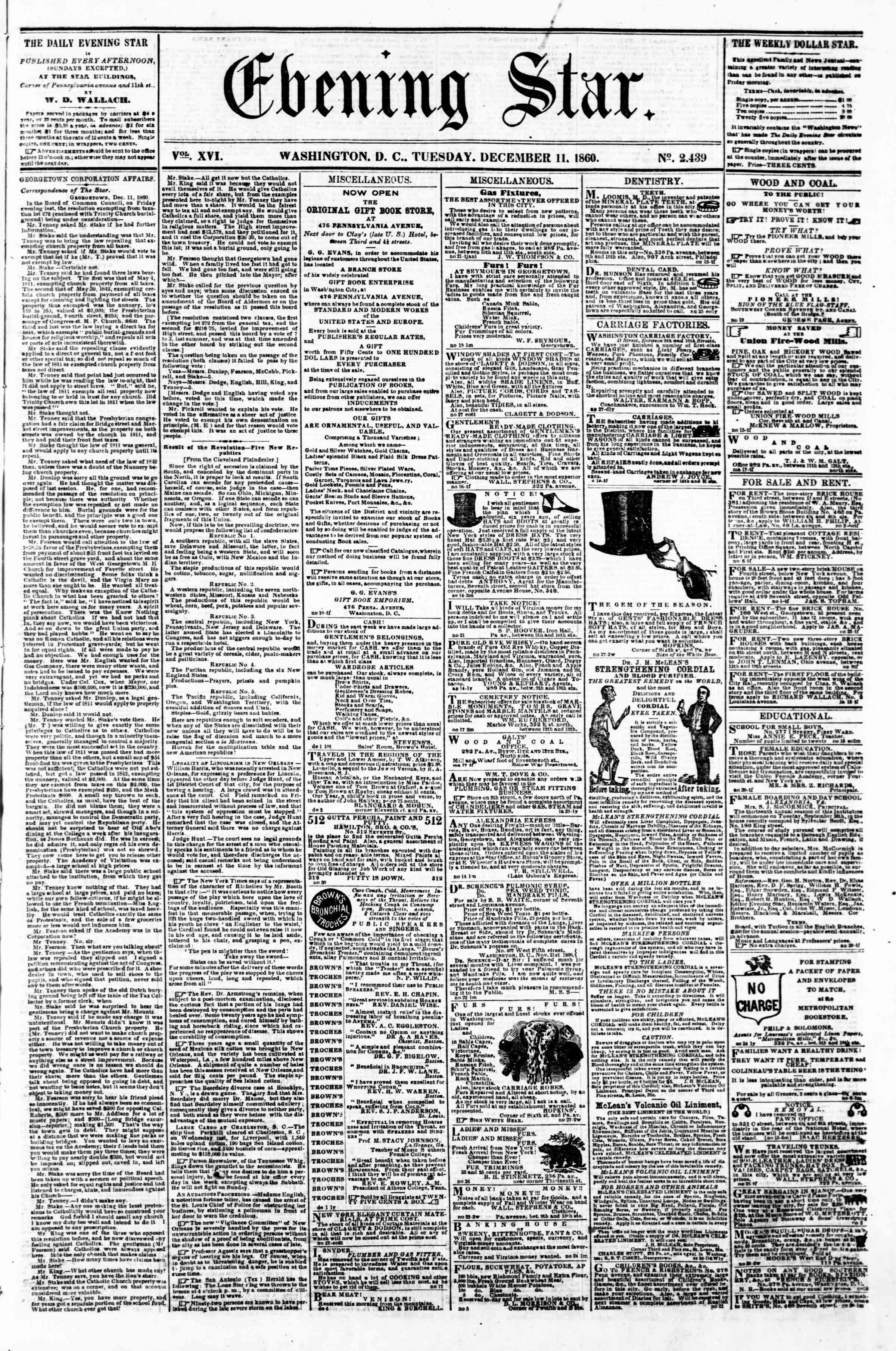 11 Aralık 1860 tarihli Evening Star Gazetesi Sayfa 1