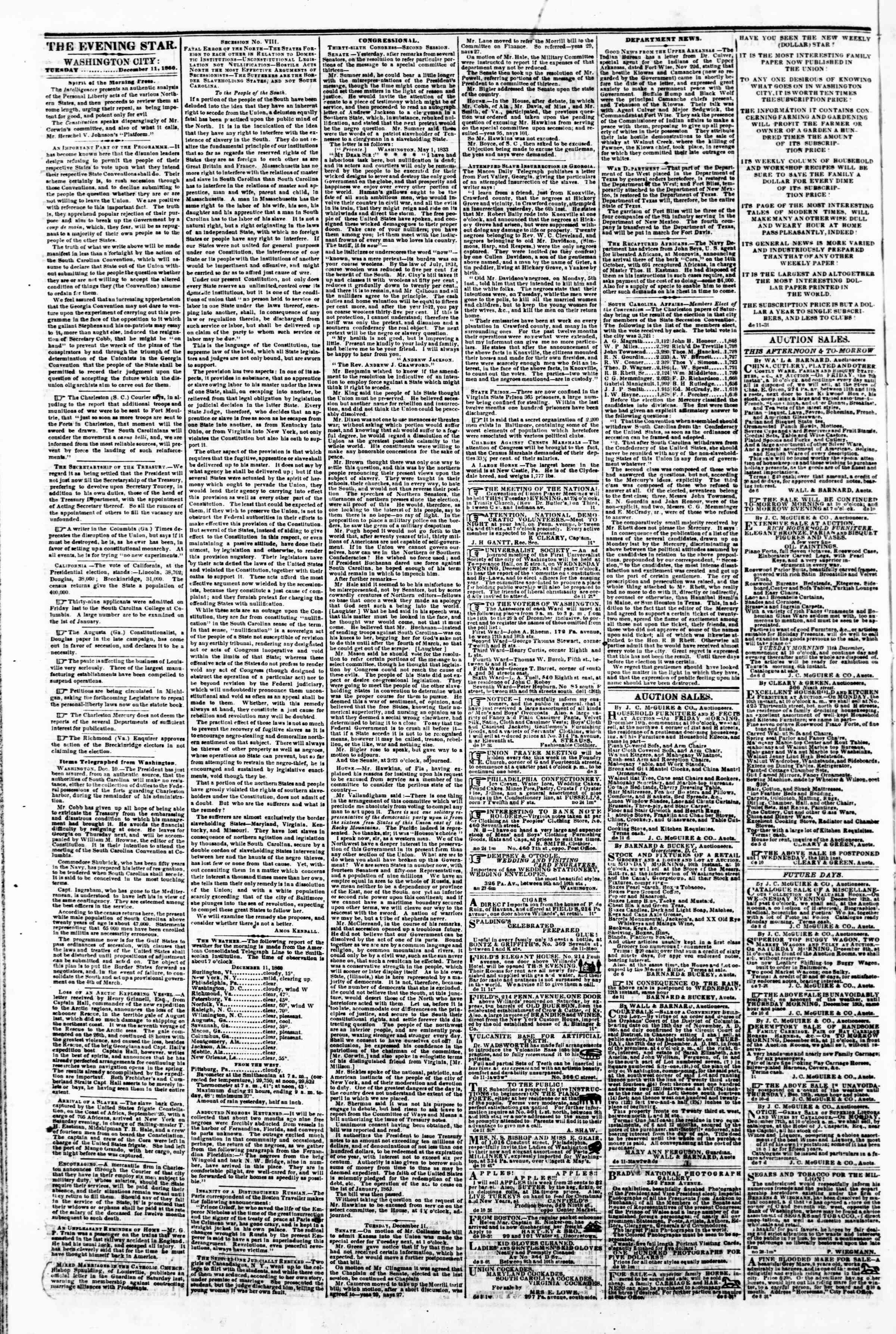Newspaper of Evening Star dated December 11, 1860 Page 2