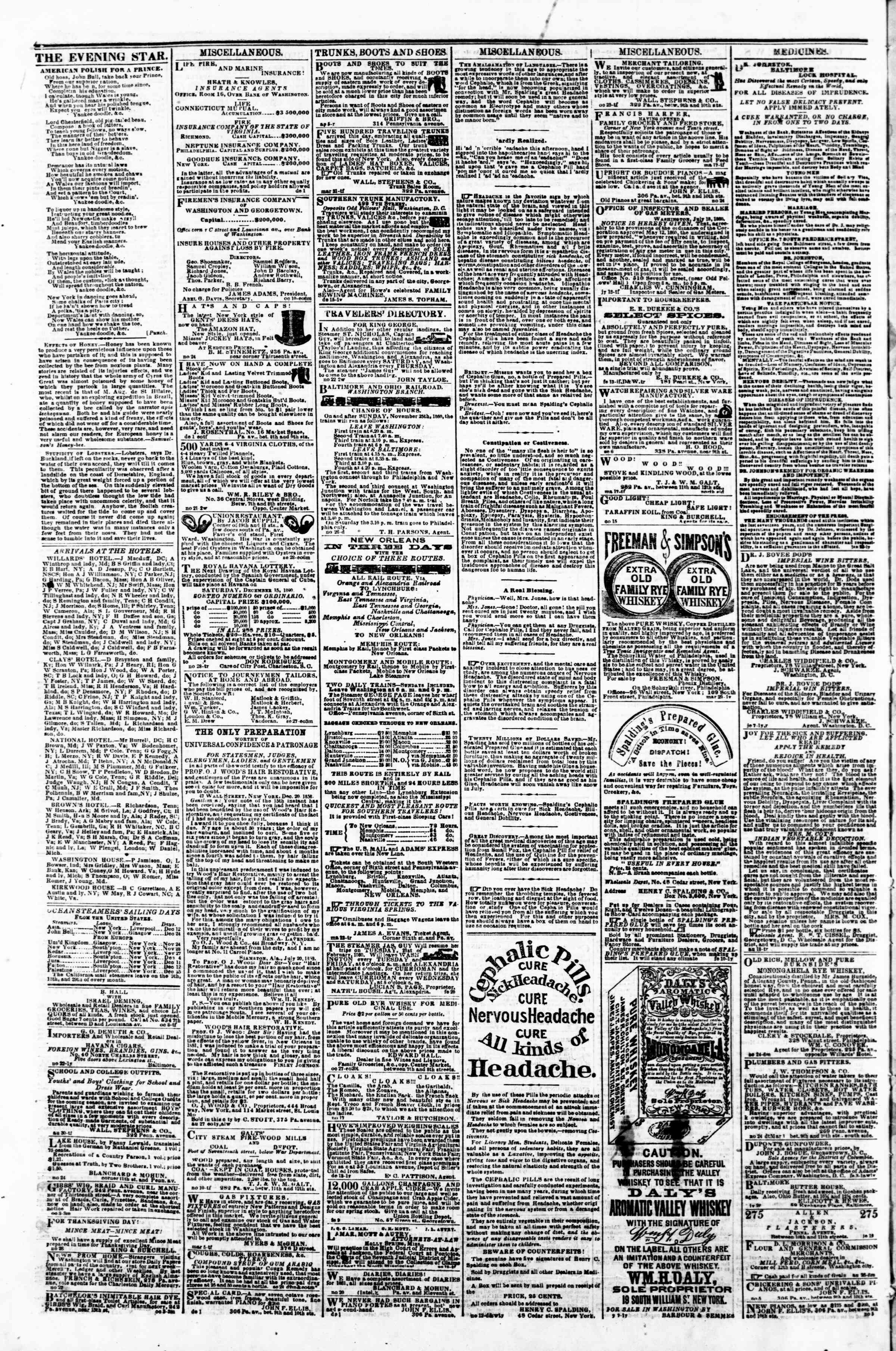 Newspaper of Evening Star dated December 11, 1860 Page 4