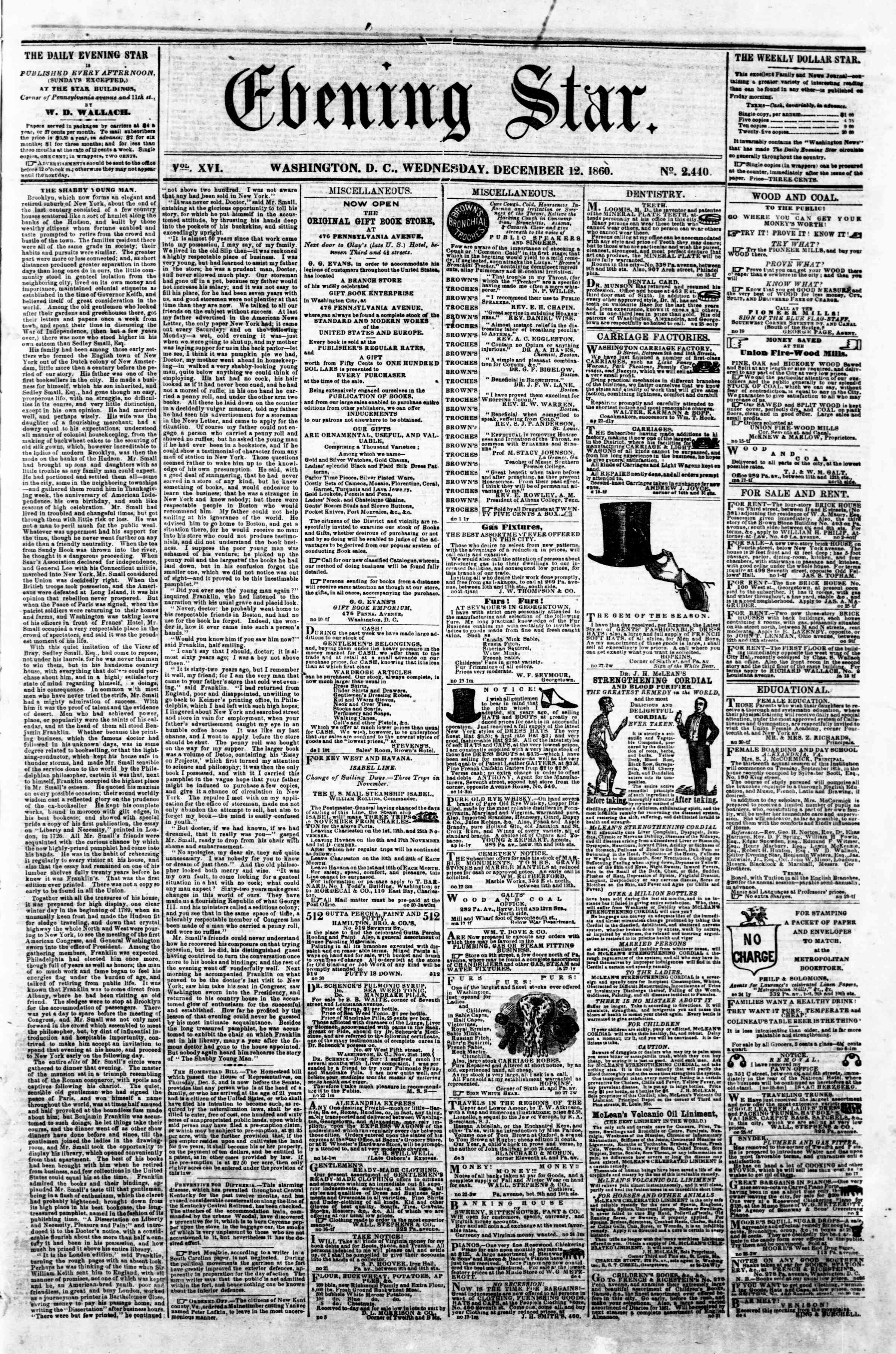 Newspaper of Evening Star dated December 12, 1860 Page 1