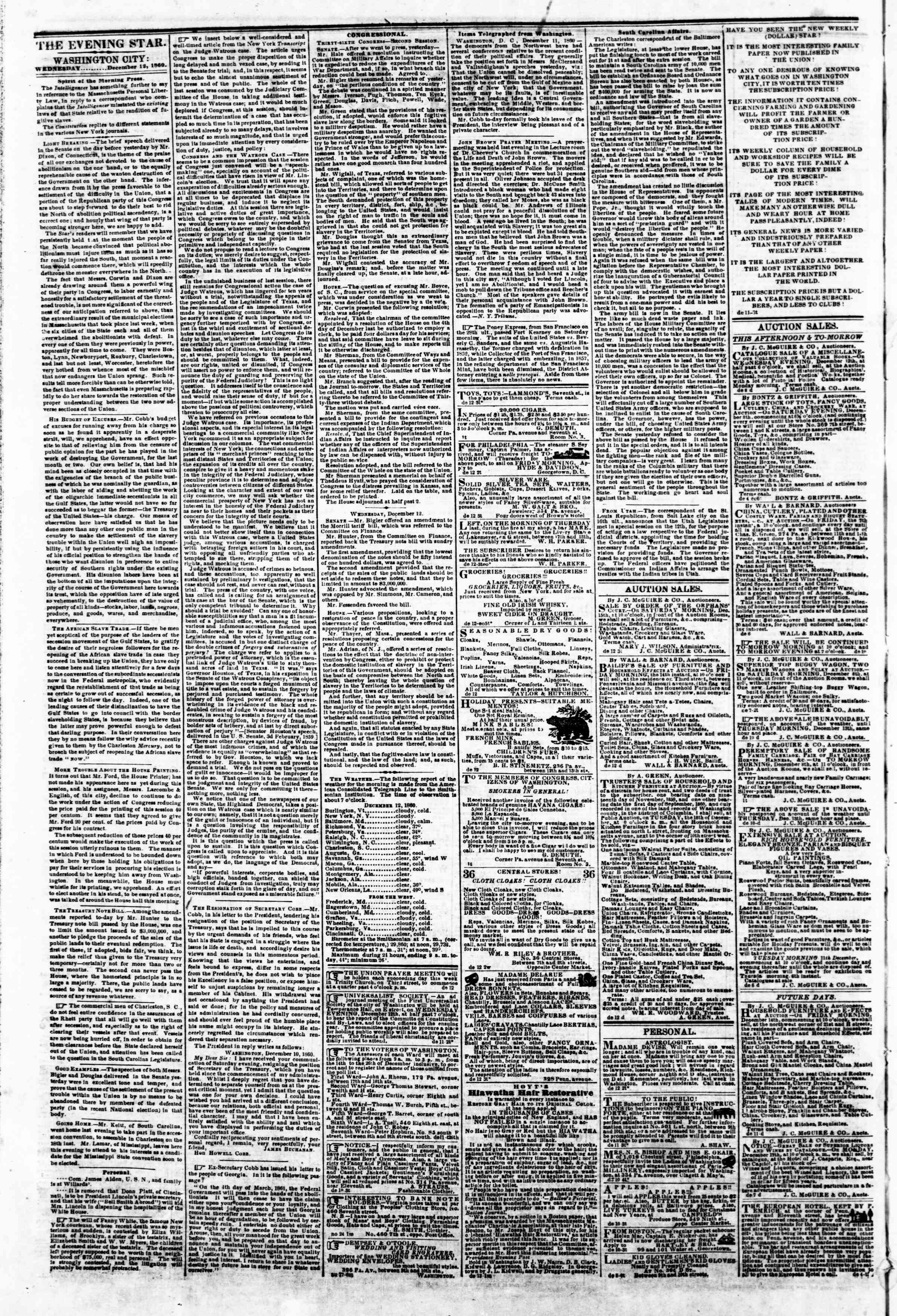 Newspaper of Evening Star dated December 12, 1860 Page 2