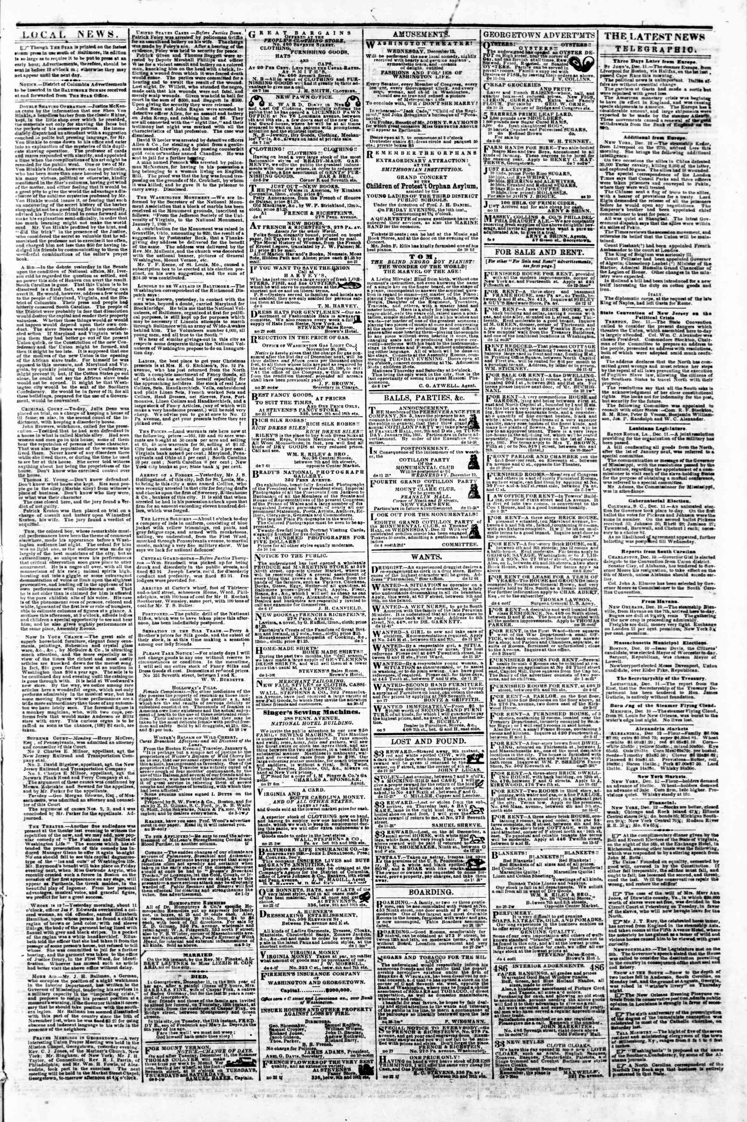 Newspaper of Evening Star dated December 12, 1860 Page 3