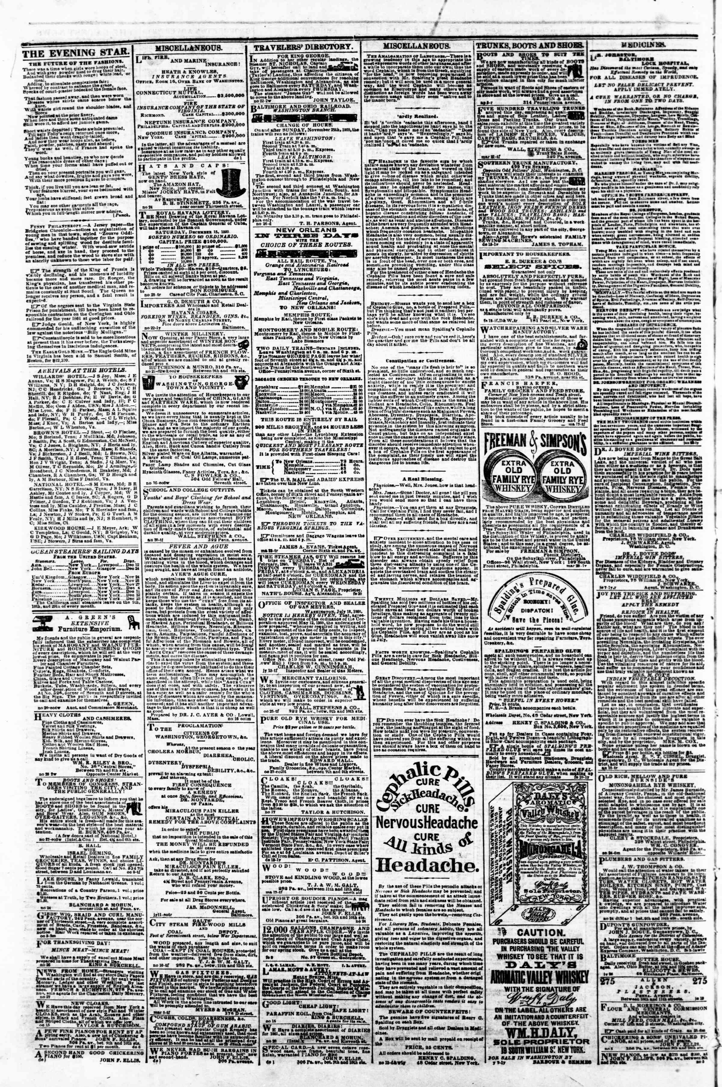 Newspaper of Evening Star dated December 12, 1860 Page 4