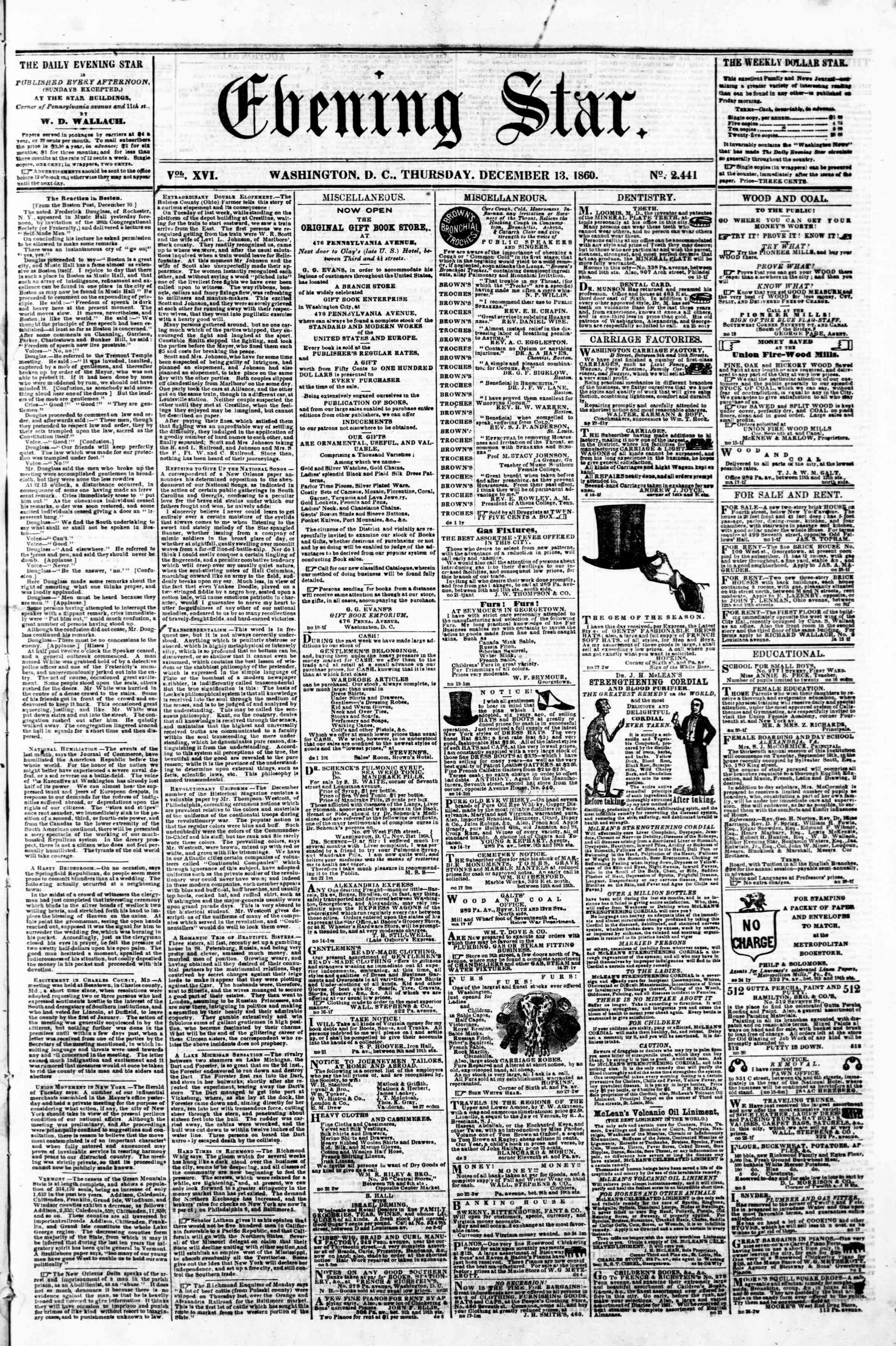 Newspaper of Evening Star dated December 13, 1860 Page 1