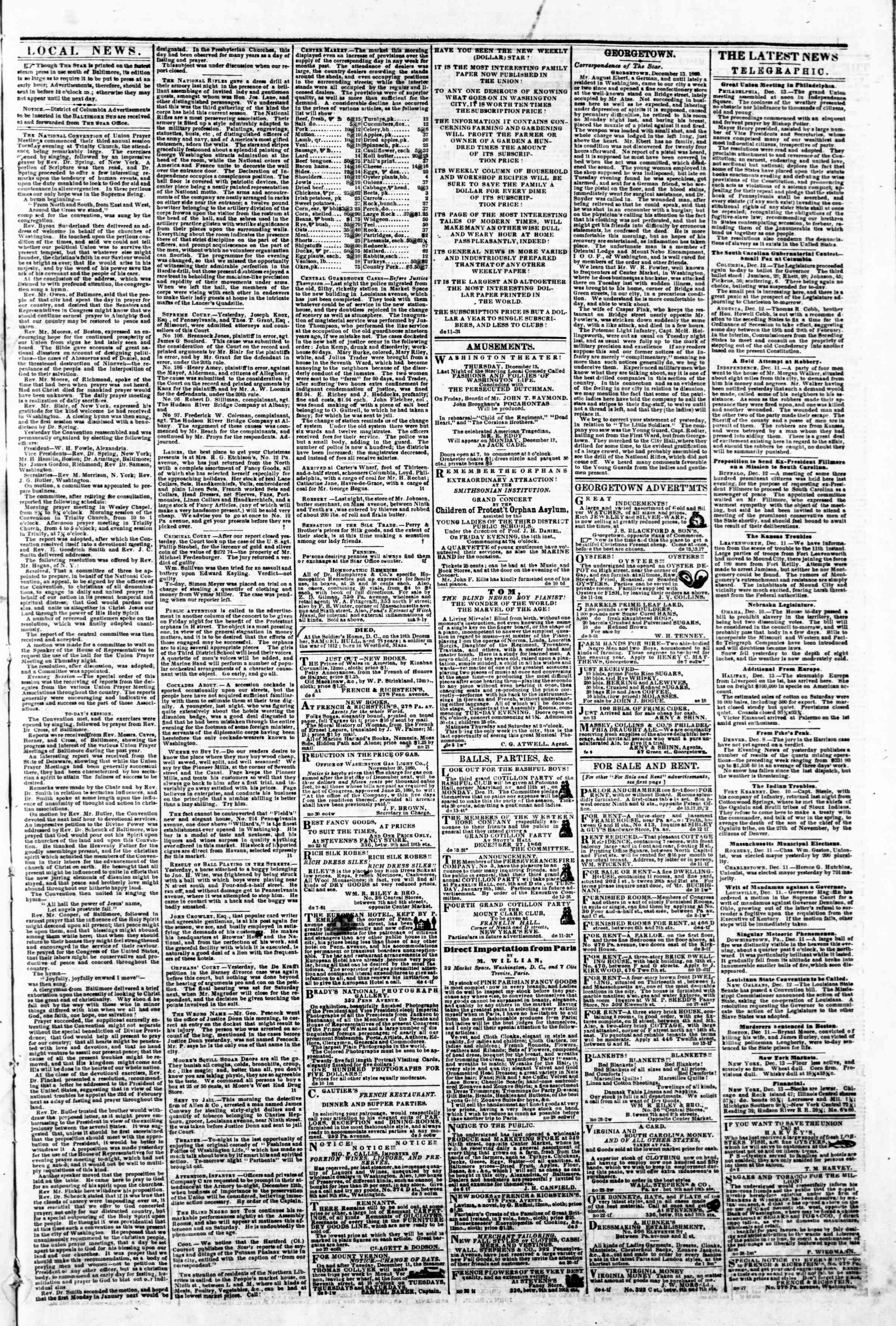 Newspaper of Evening Star dated December 13, 1860 Page 3