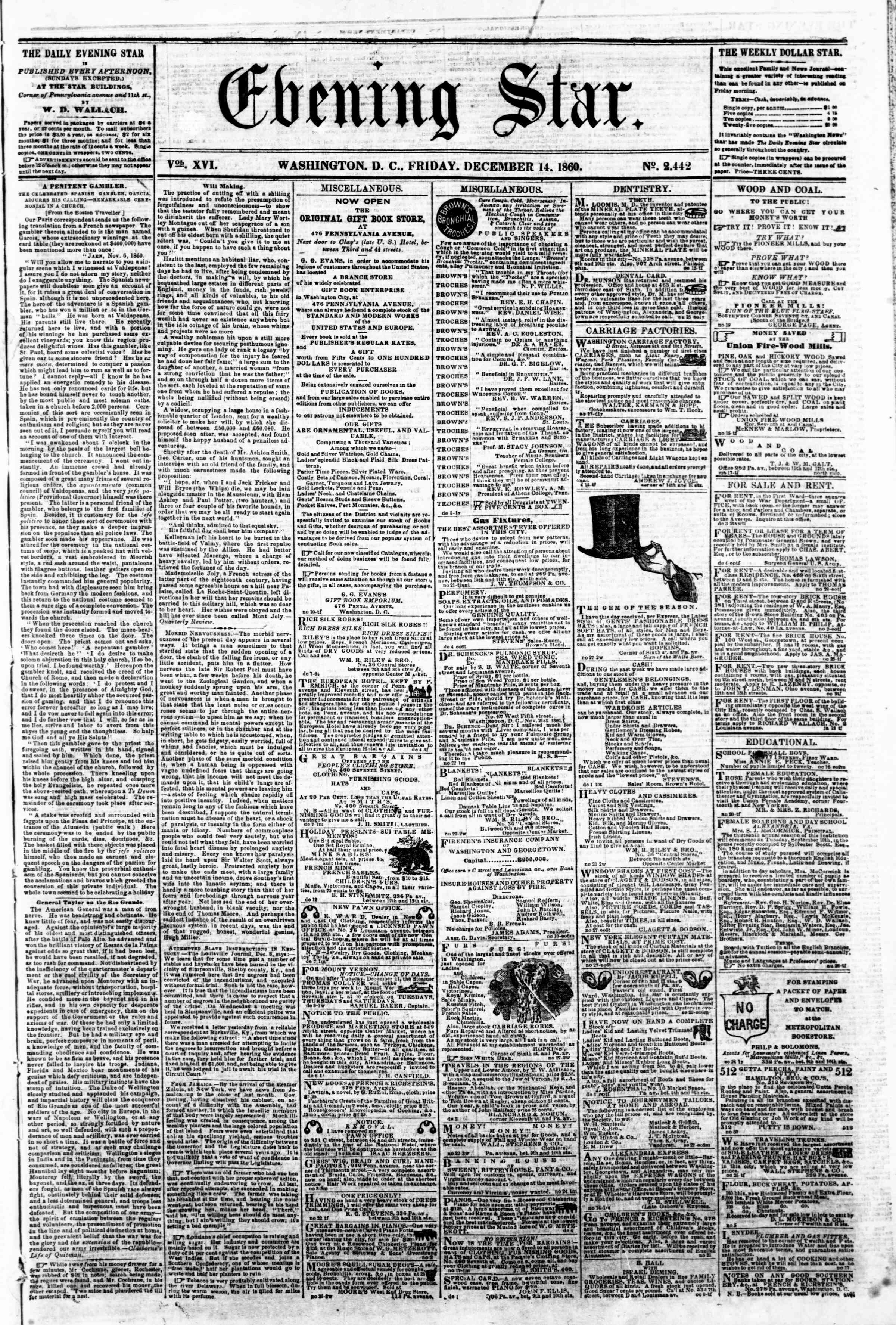 Newspaper of Evening Star dated December 14, 1860 Page 1