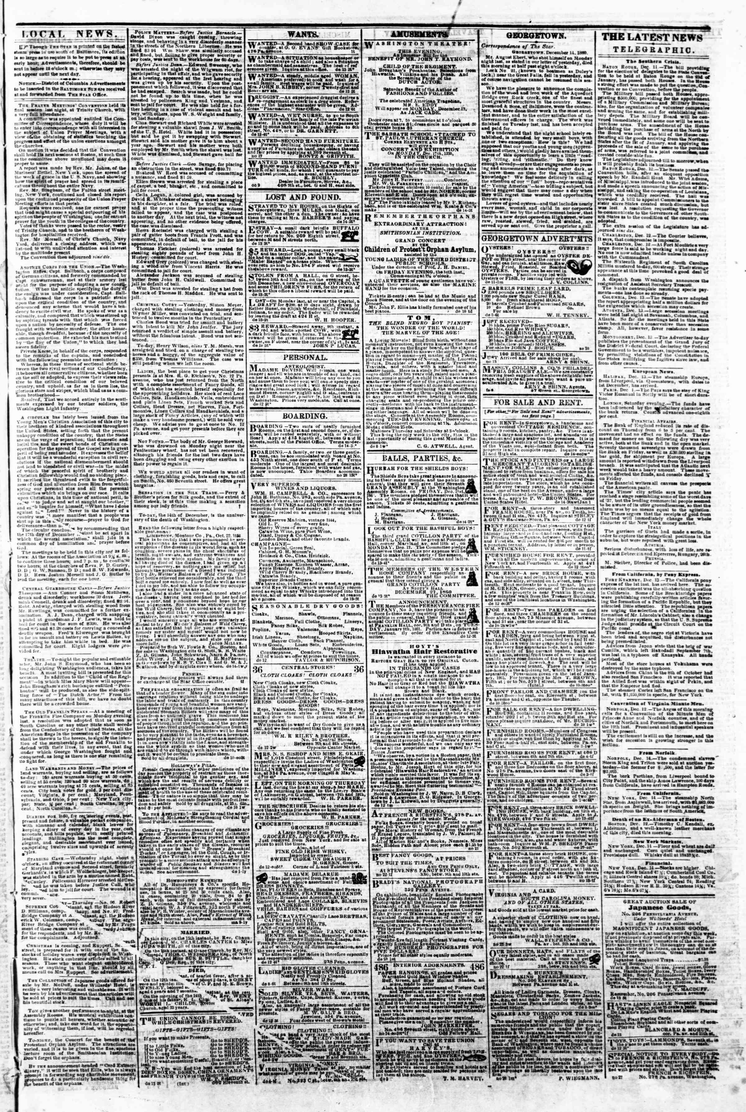 Newspaper of Evening Star dated December 14, 1860 Page 3