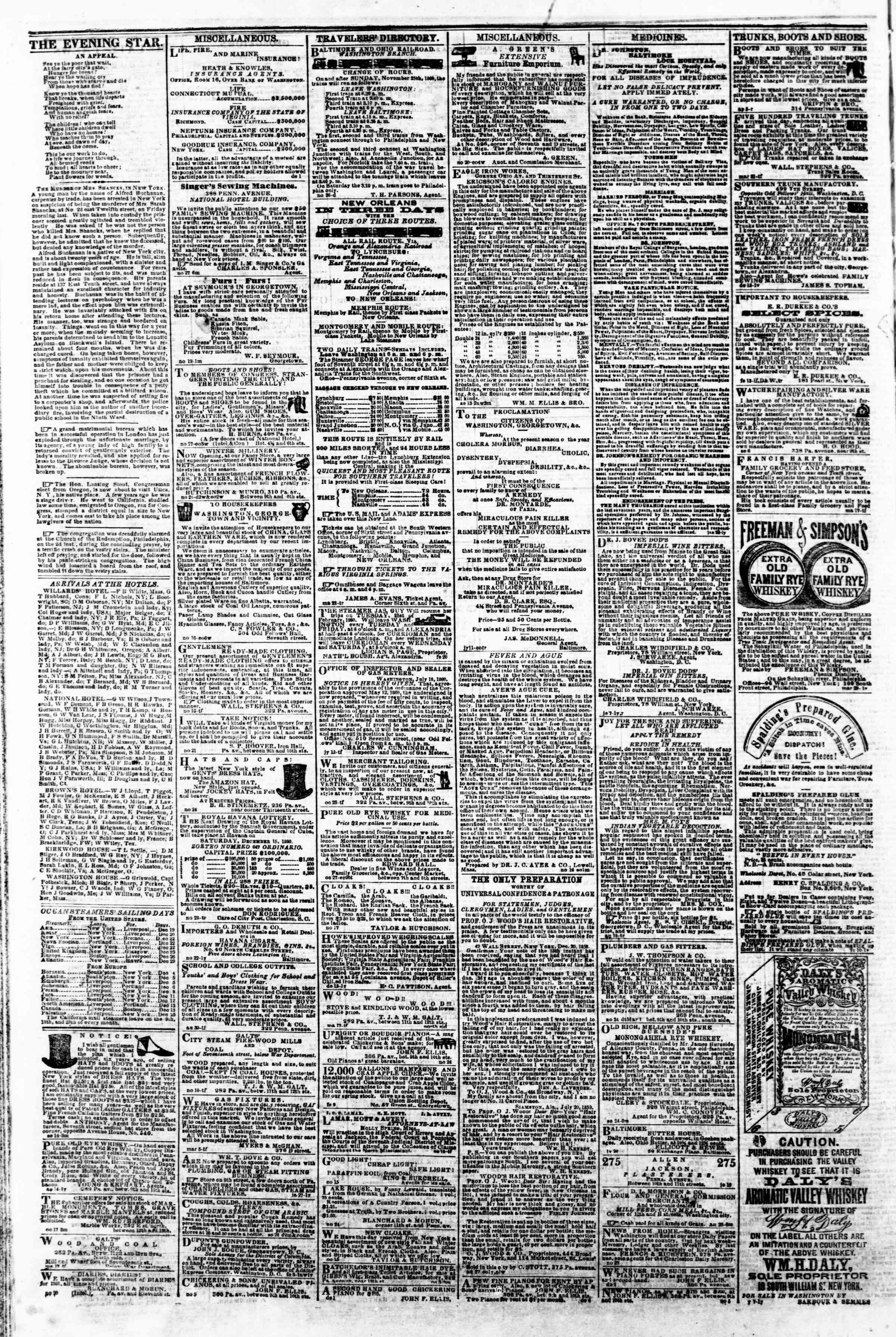 Newspaper of Evening Star dated December 14, 1860 Page 4