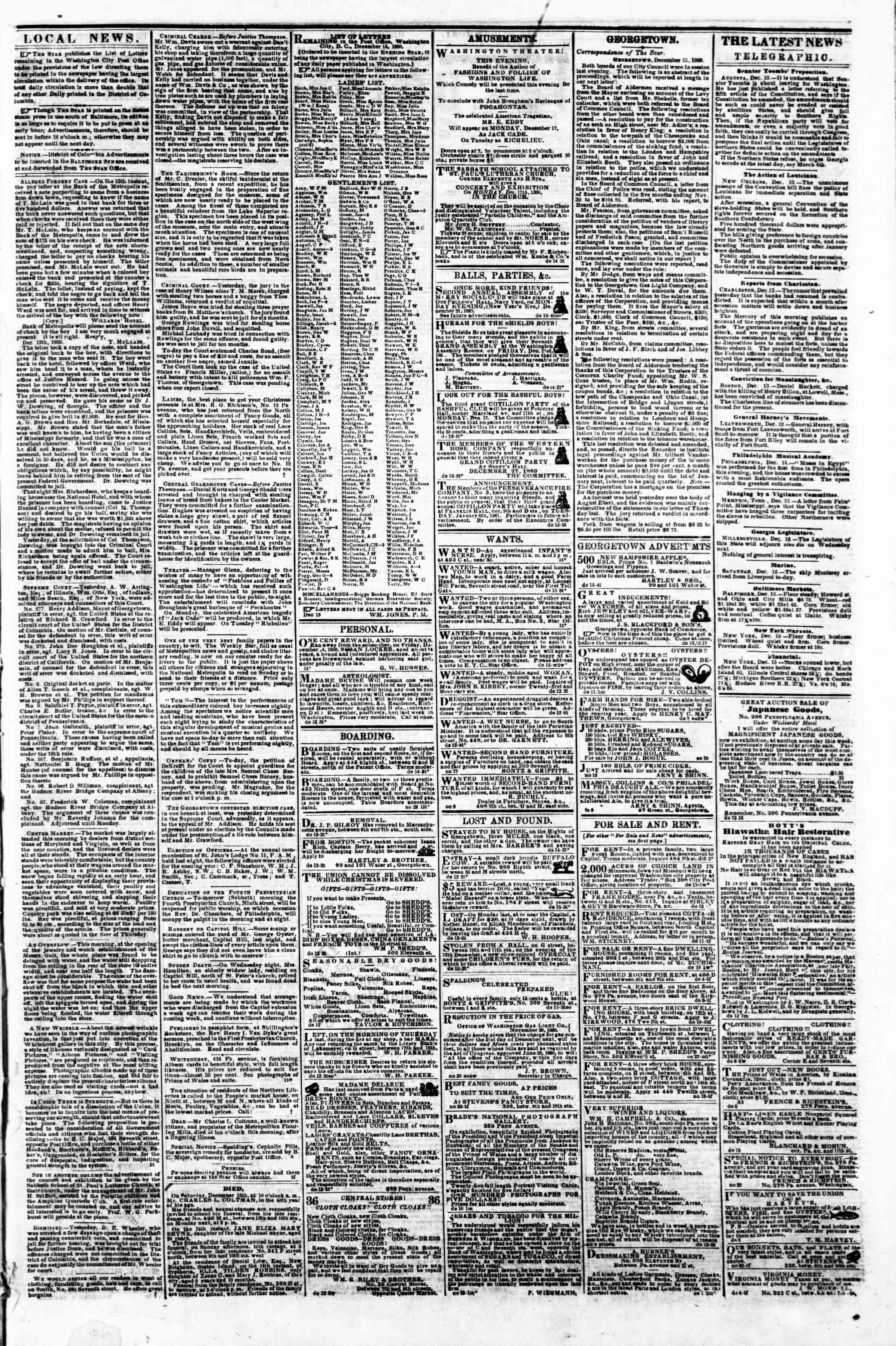 Newspaper of Evening Star dated December 15, 1860 Page 3