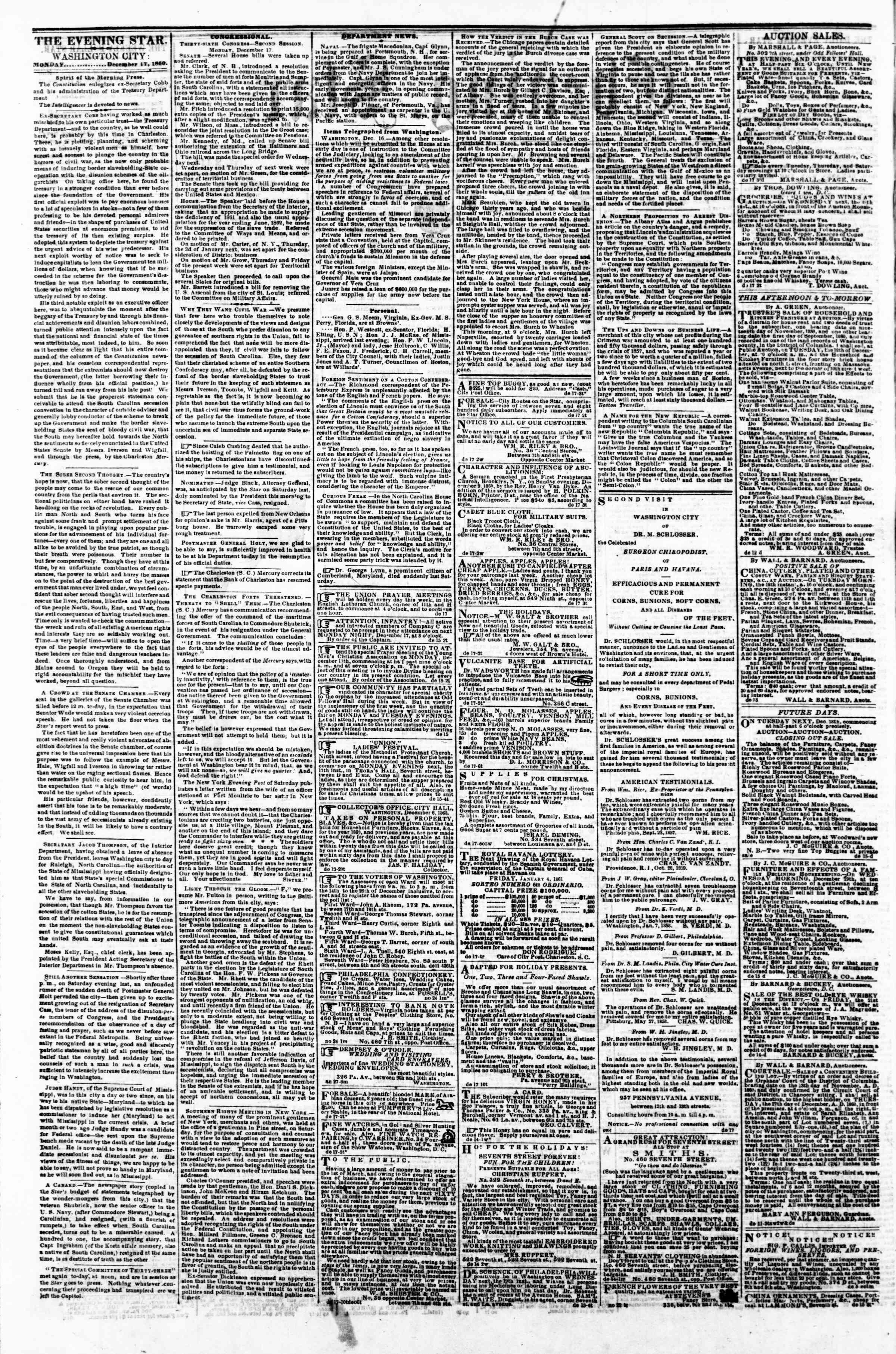 Newspaper of Evening Star dated December 17, 1860 Page 2