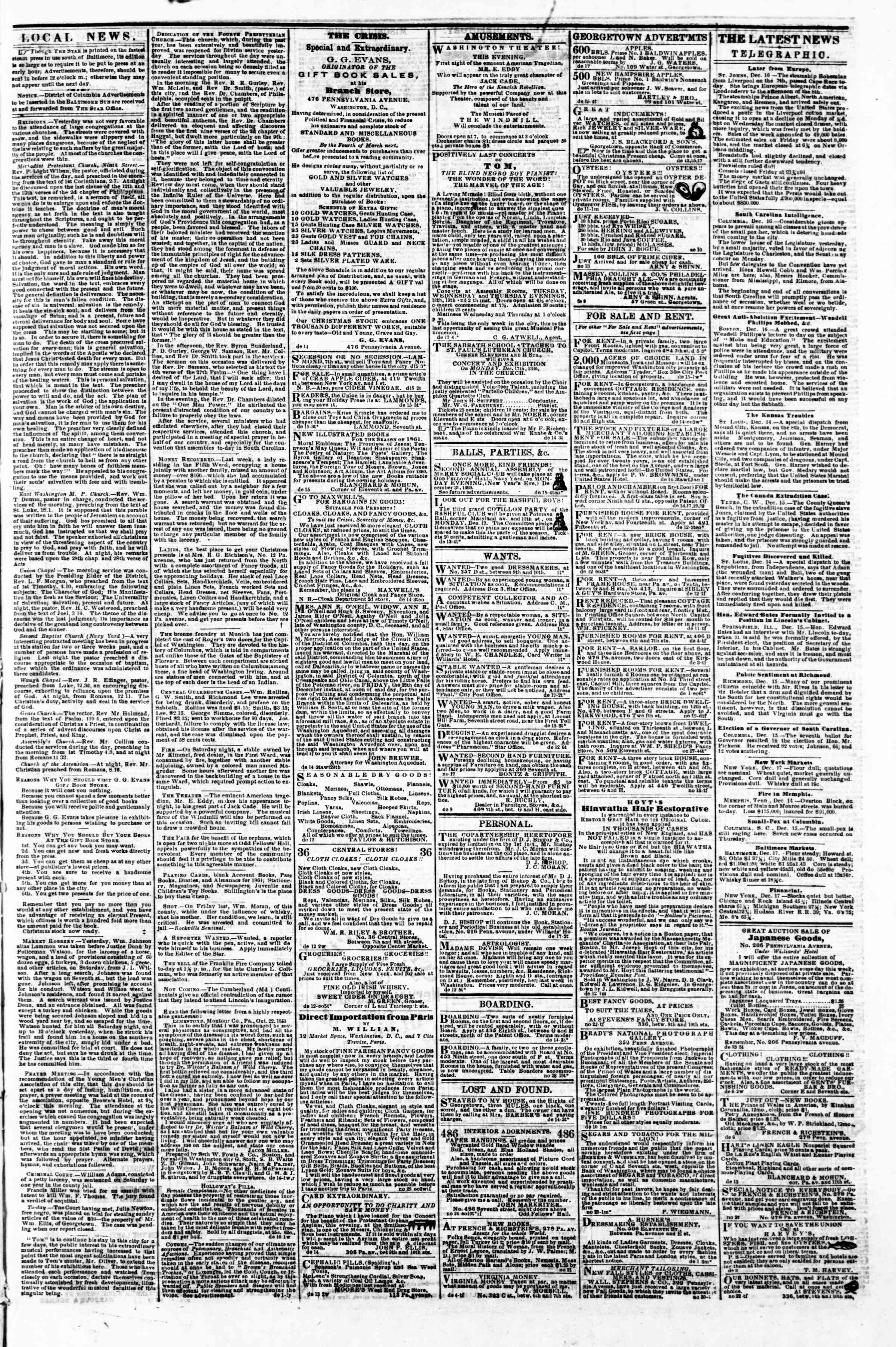 Newspaper of Evening Star dated December 17, 1860 Page 3