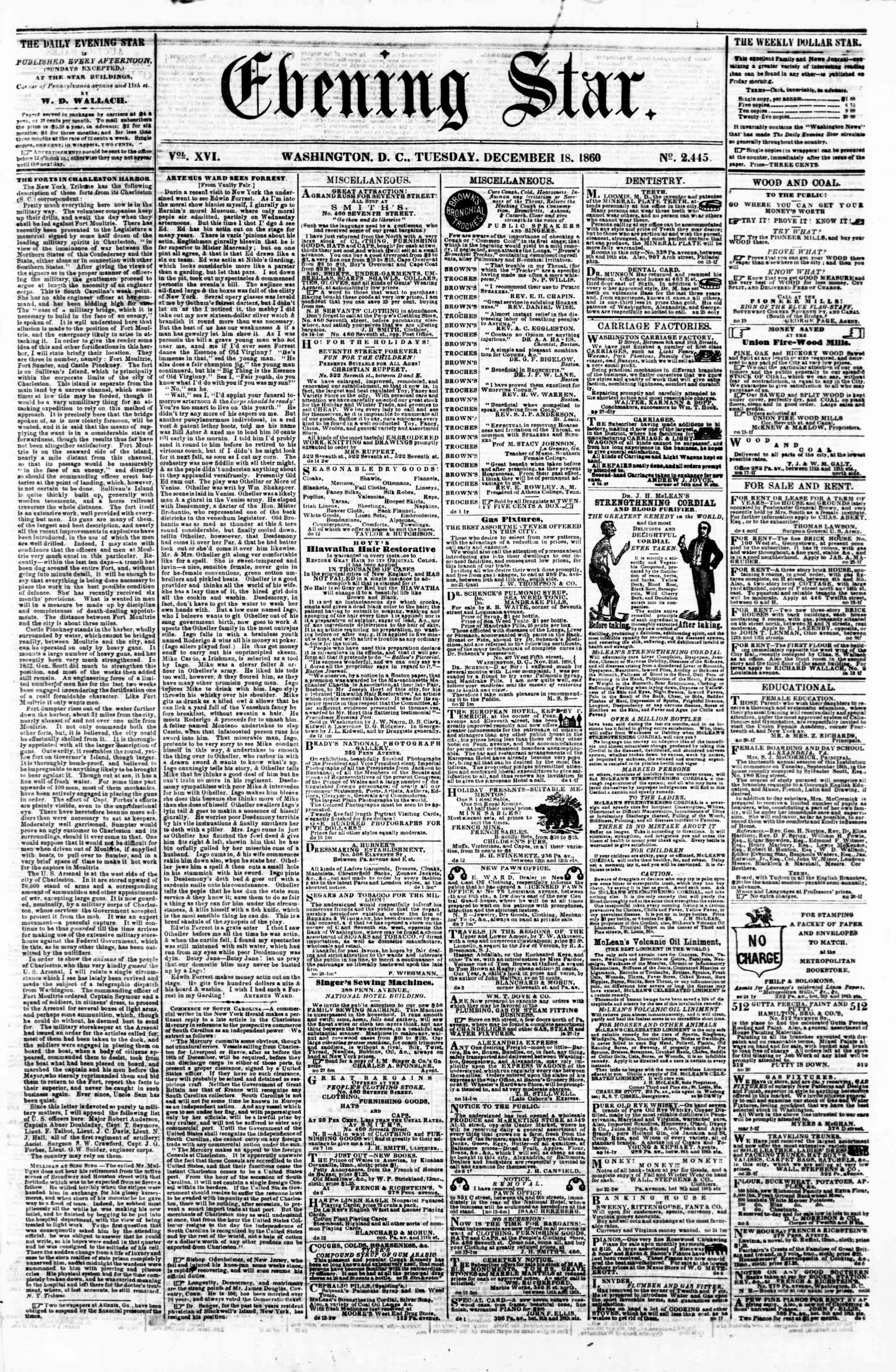 Newspaper of Evening Star dated December 18, 1860 Page 1