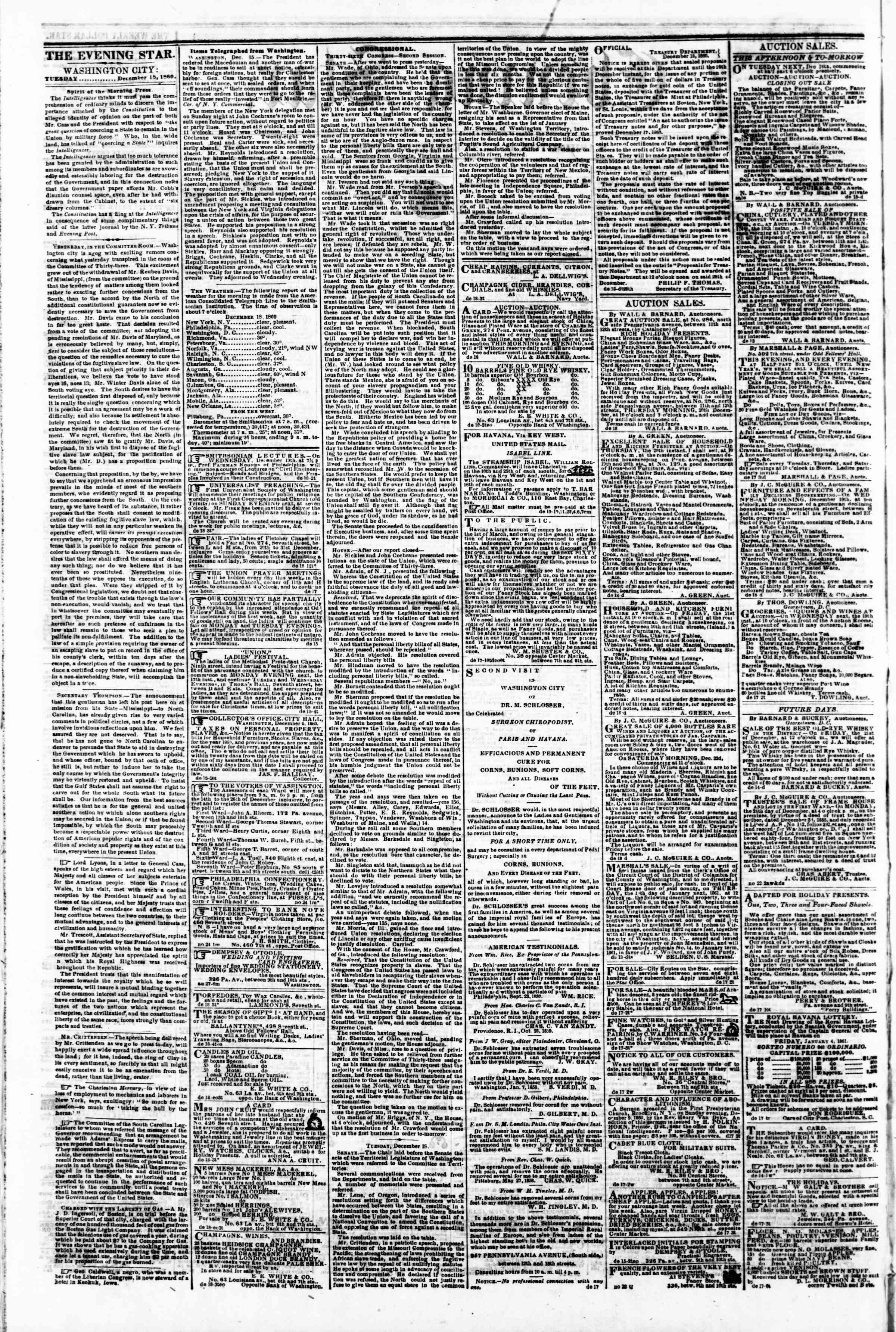 Newspaper of Evening Star dated December 18, 1860 Page 2