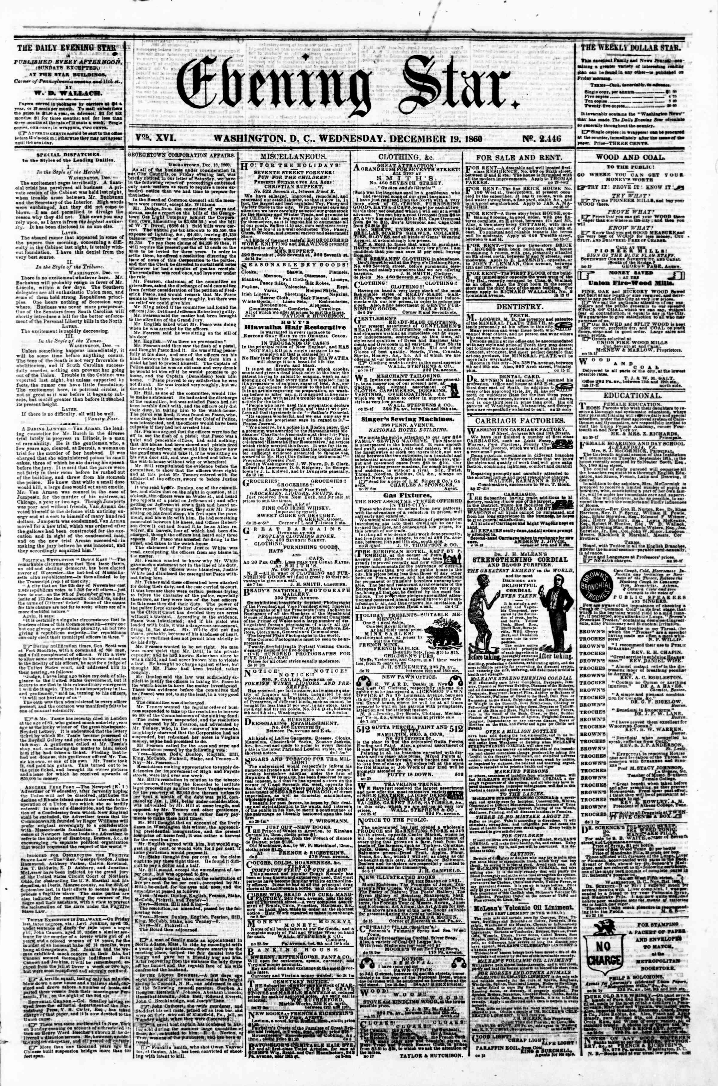 Newspaper of Evening Star dated December 19, 1860 Page 1