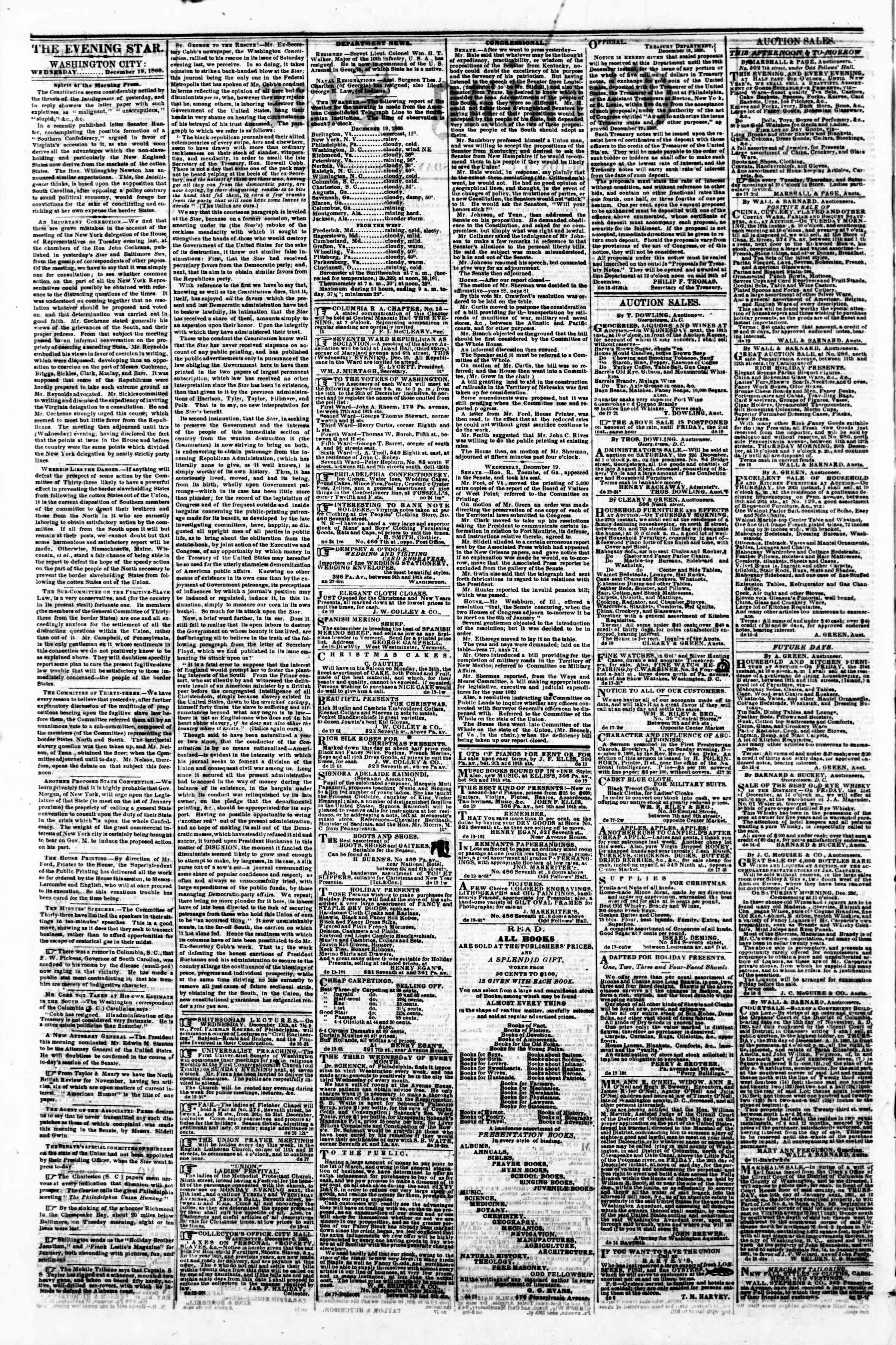 Newspaper of Evening Star dated December 19, 1860 Page 2