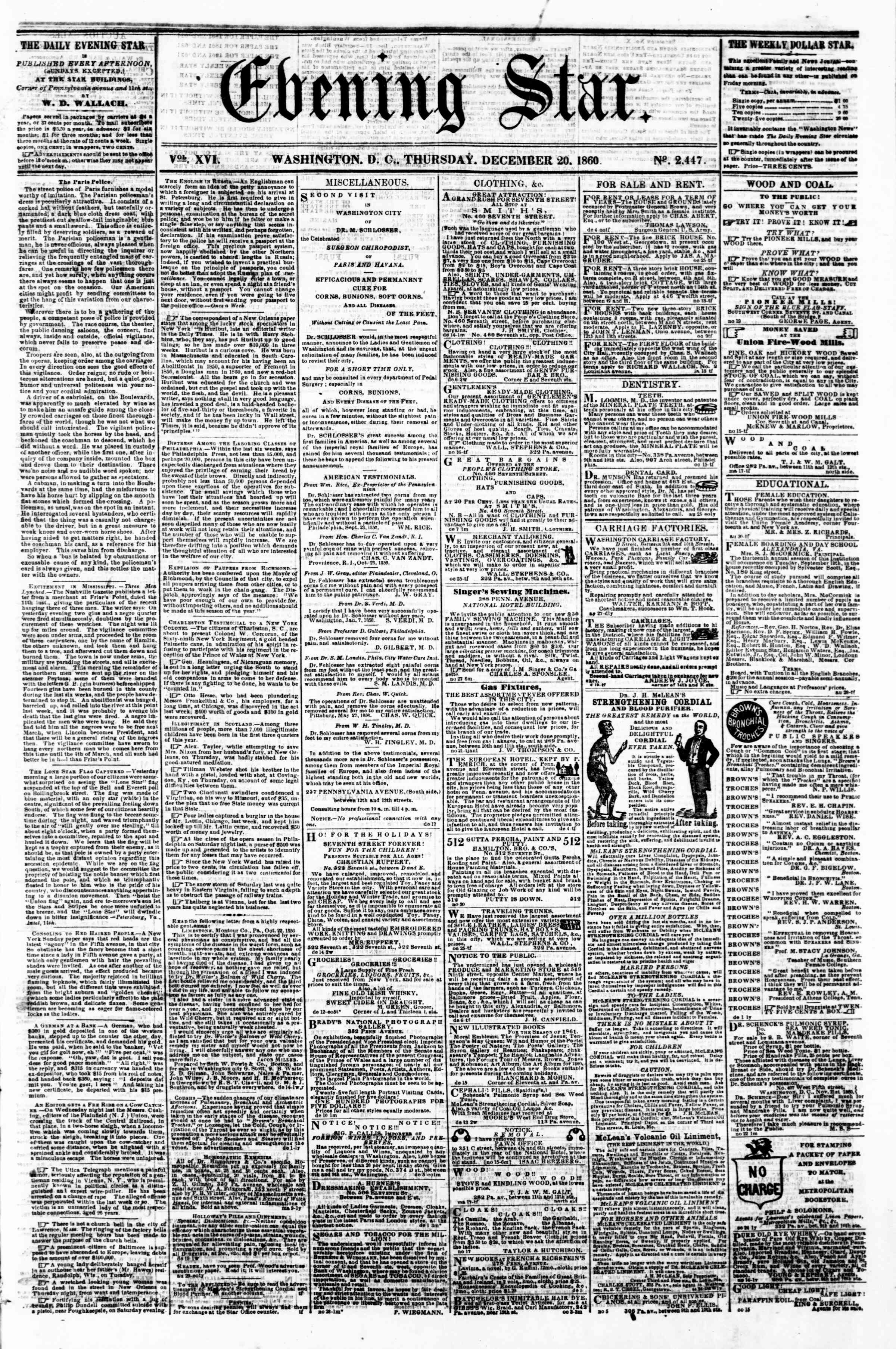 Newspaper of Evening Star dated December 20, 1860 Page 1