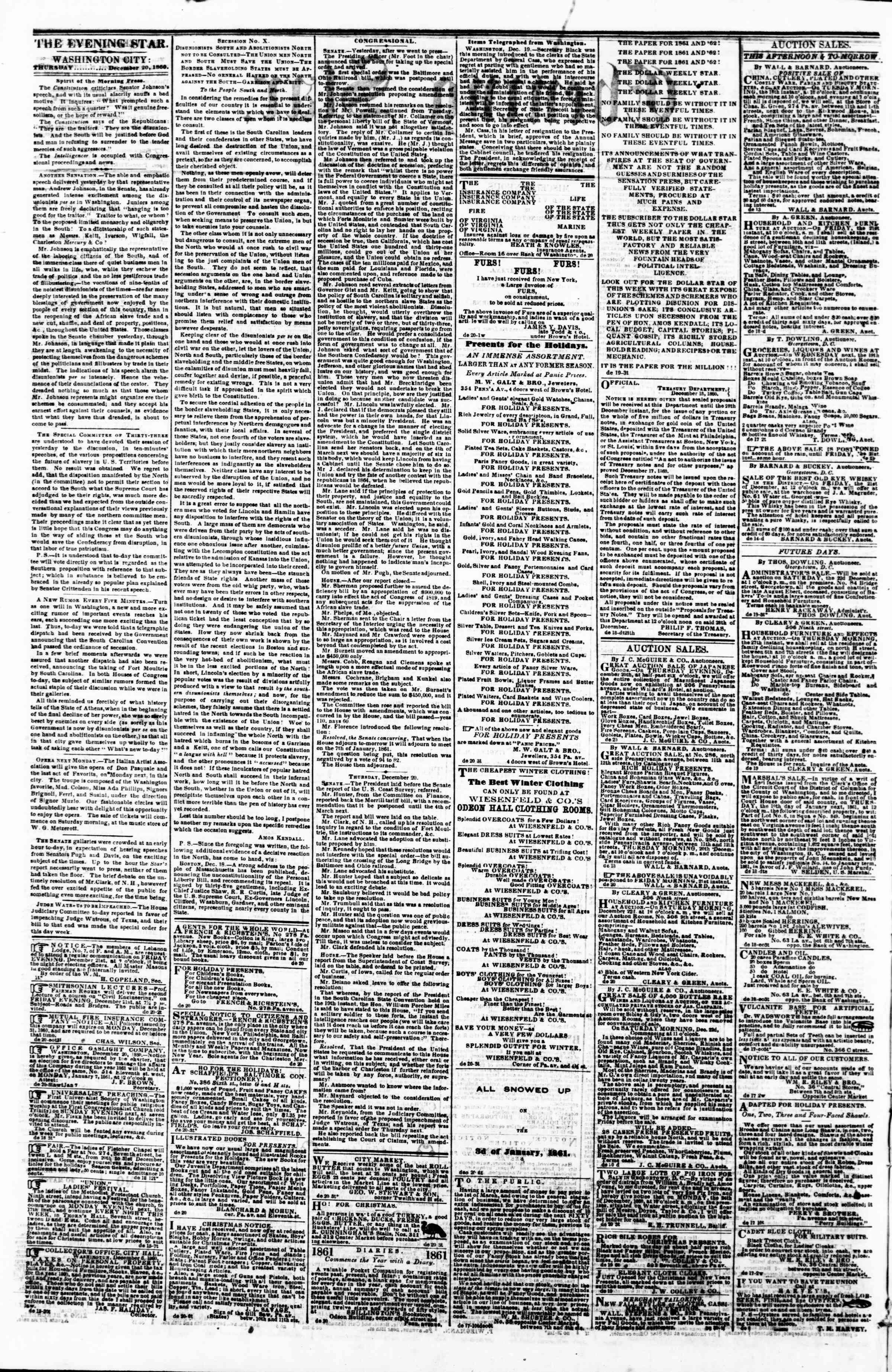 Newspaper of Evening Star dated December 20, 1860 Page 2