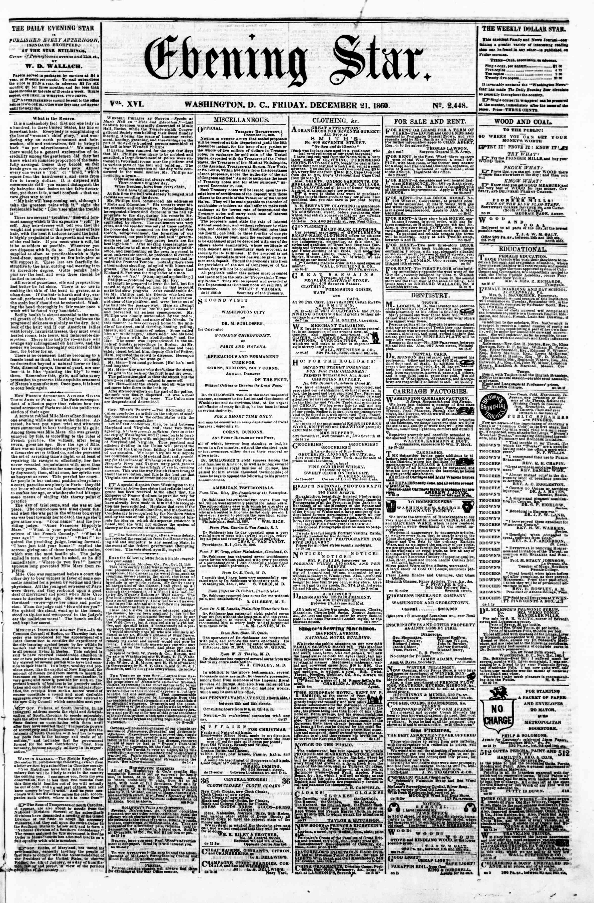Newspaper of Evening Star dated December 21, 1860 Page 1