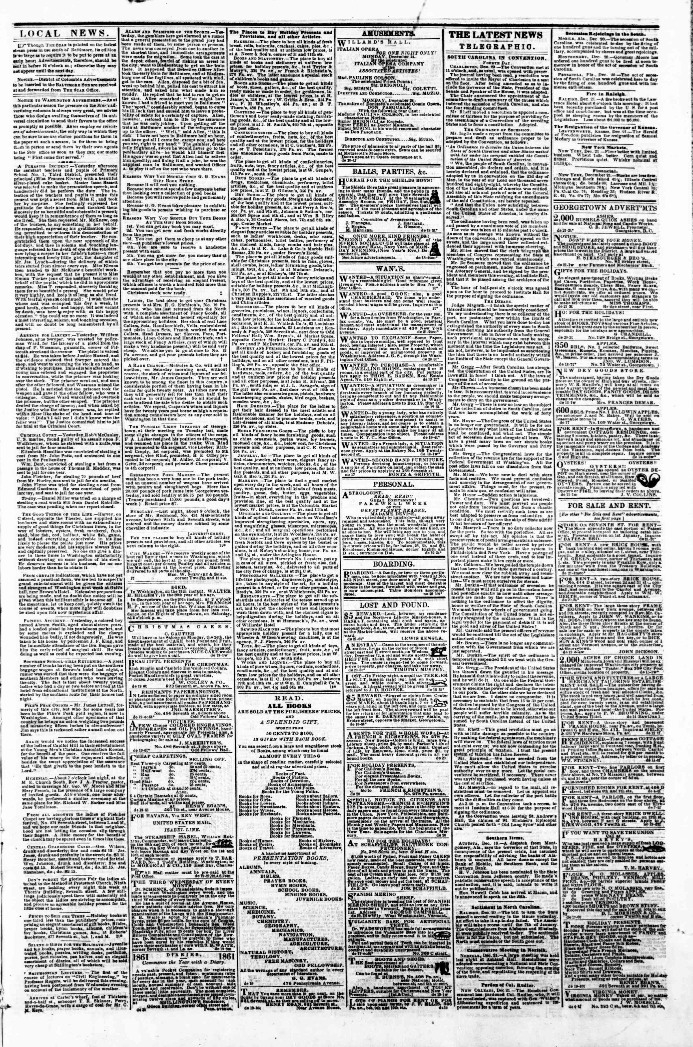 Newspaper of Evening Star dated December 21, 1860 Page 3