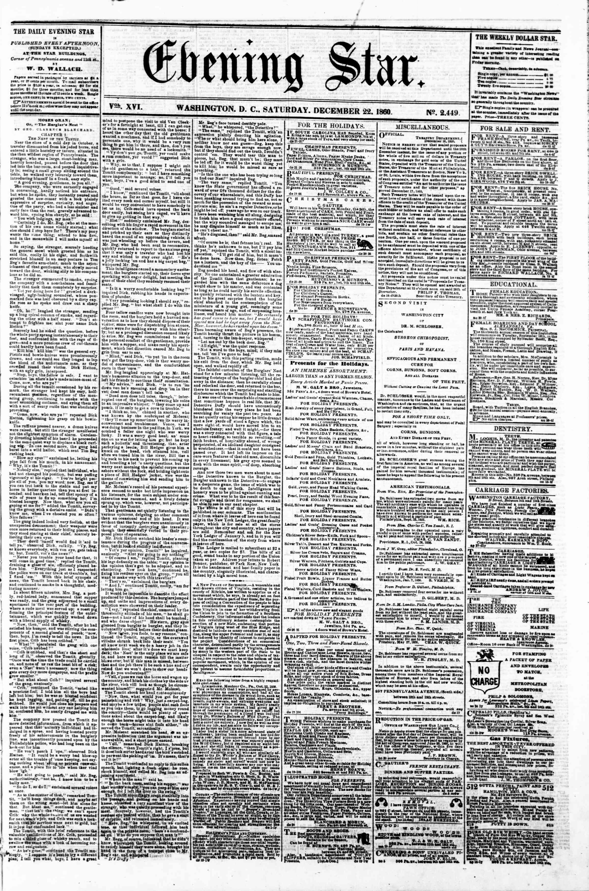 Newspaper of Evening Star dated December 22, 1860 Page 1