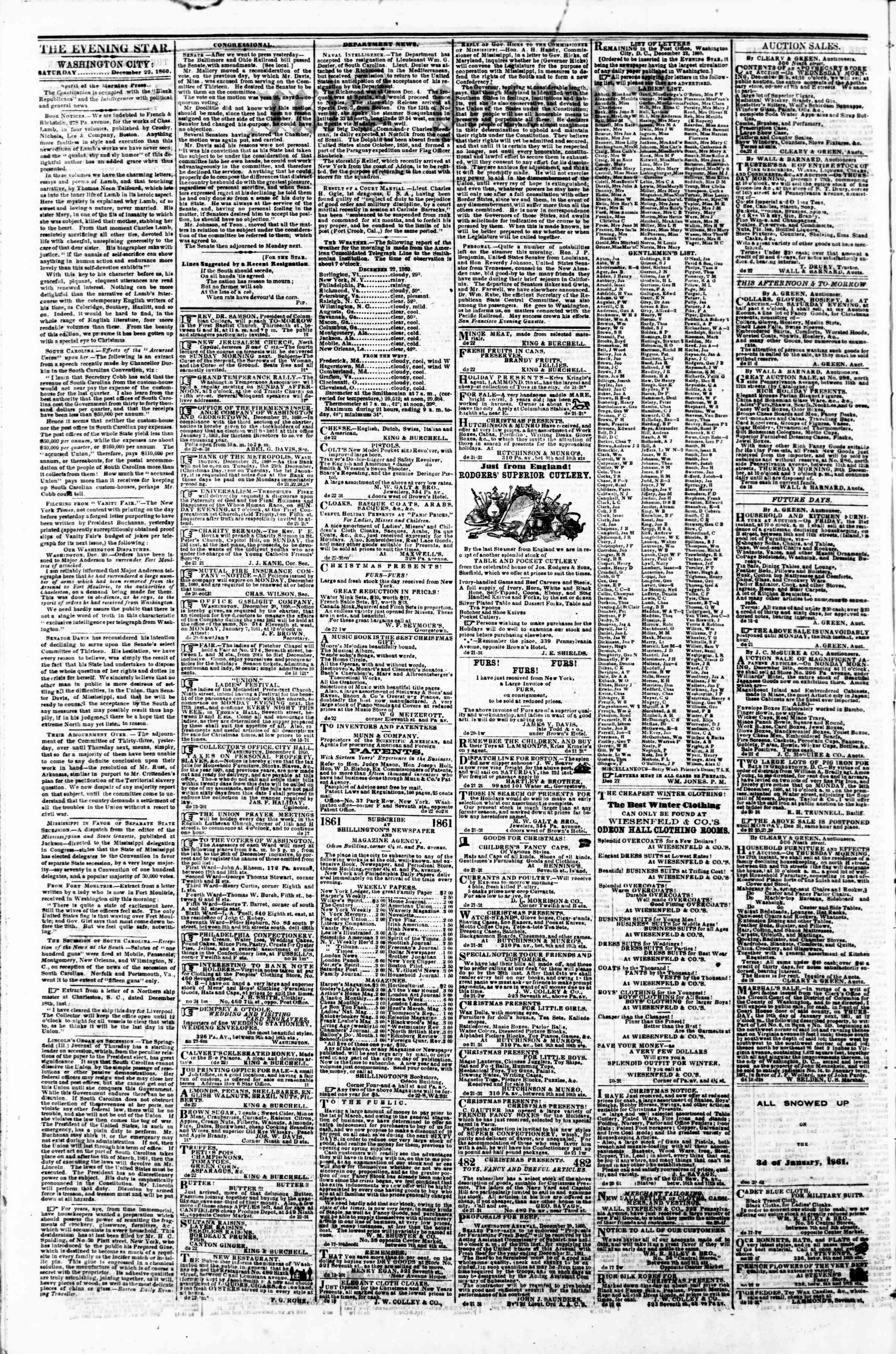 Newspaper of Evening Star dated December 22, 1860 Page 2