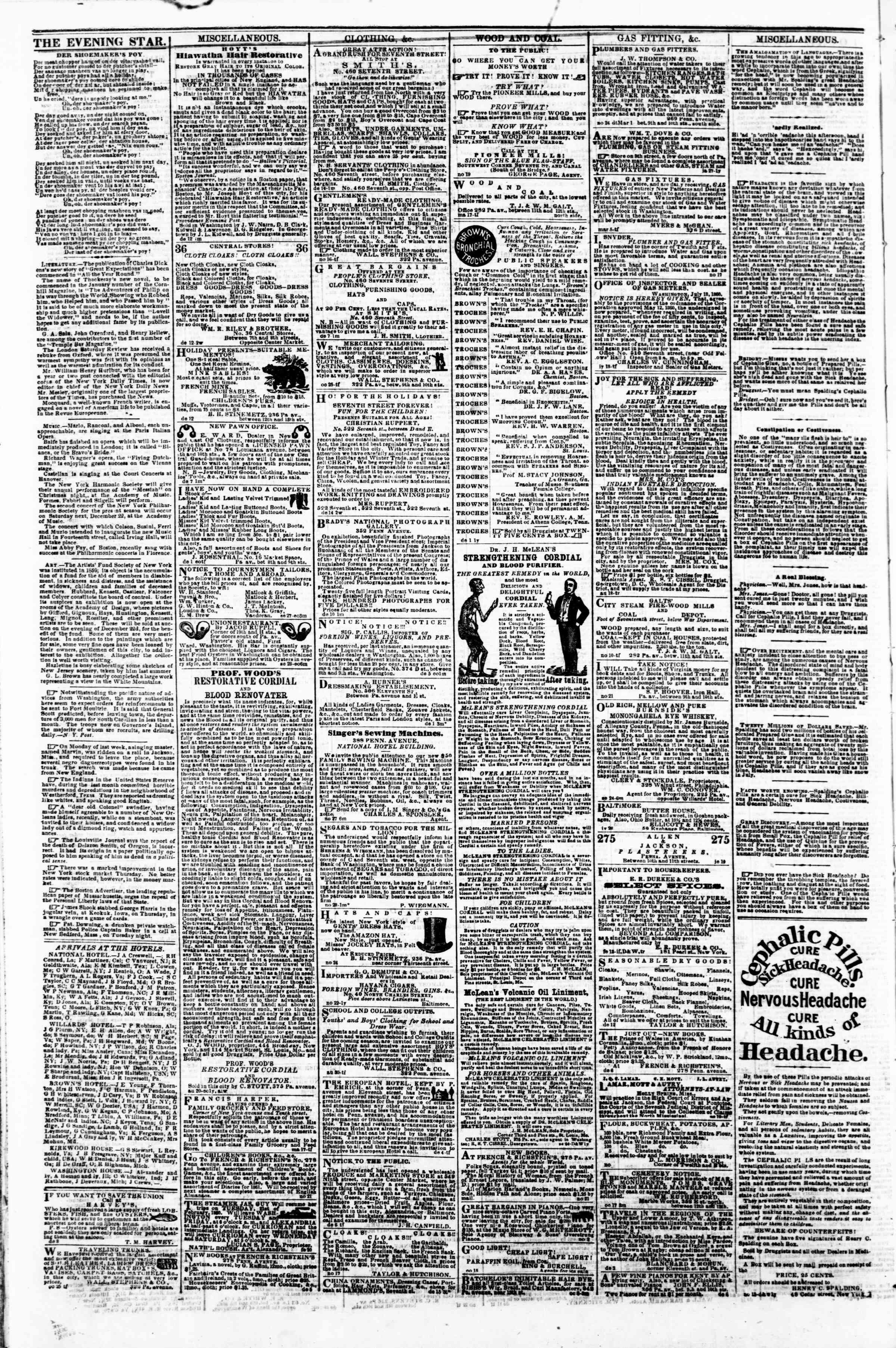 Newspaper of Evening Star dated December 22, 1860 Page 4
