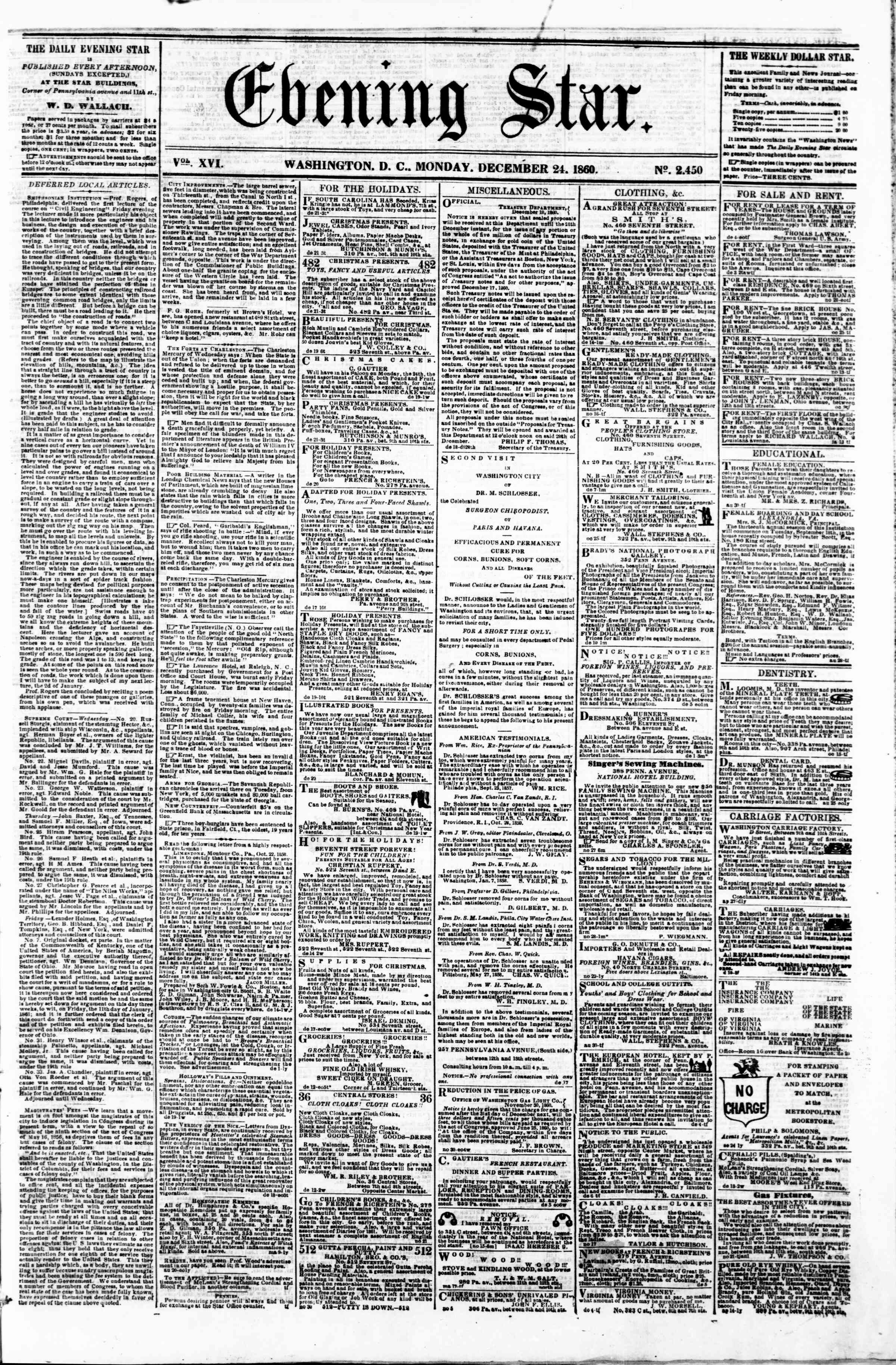 Newspaper of Evening Star dated December 24, 1860 Page 1